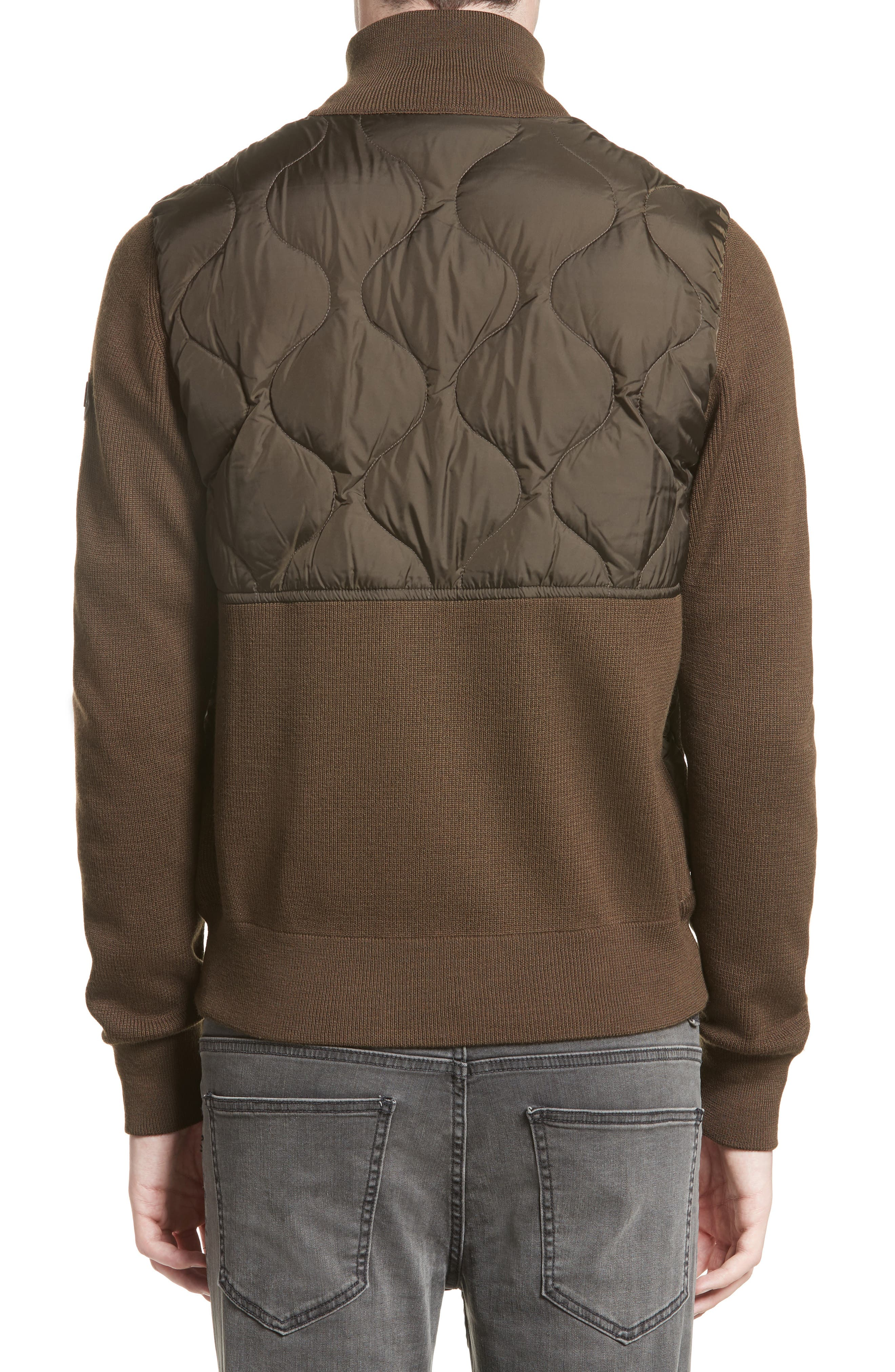Alternate Image 2  - Moncler Maglione Knit Sleeve Quilted Jacket