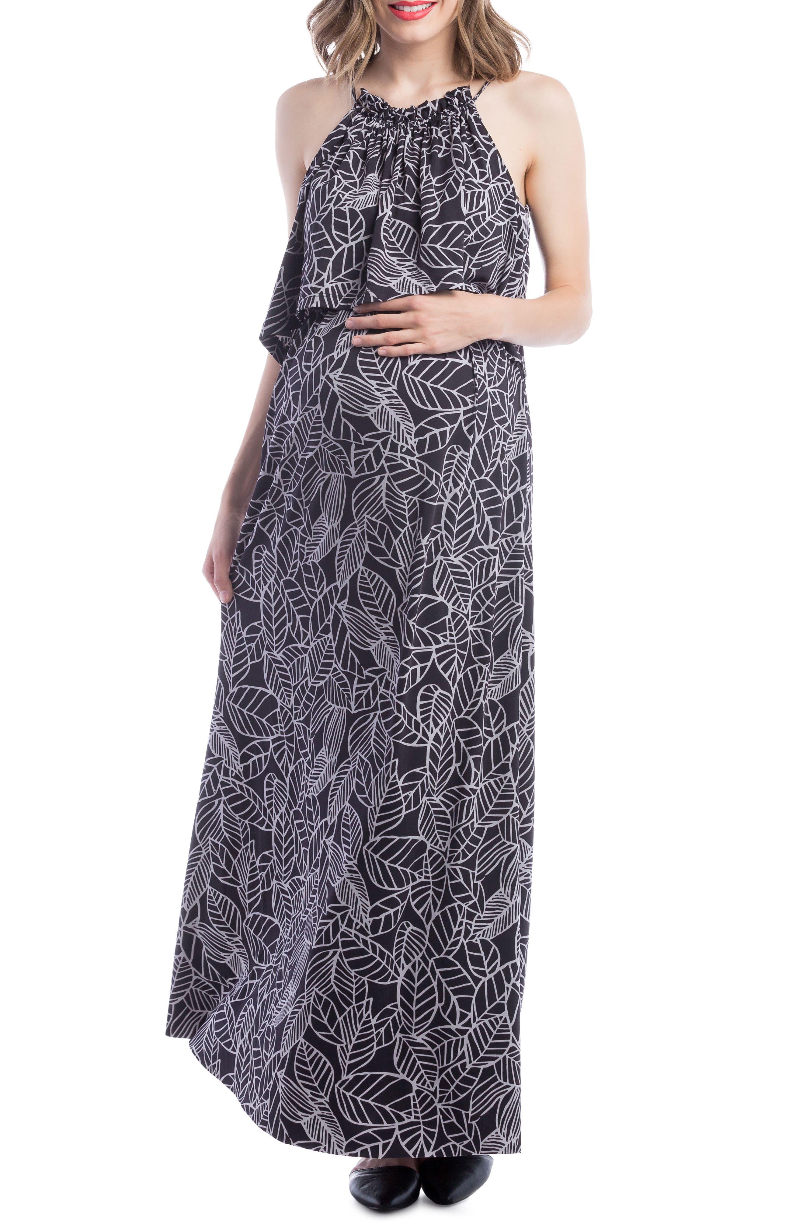 Maternity/Nursing Maxi Dress,                         Main,                         color, Black/ Grey Leaf