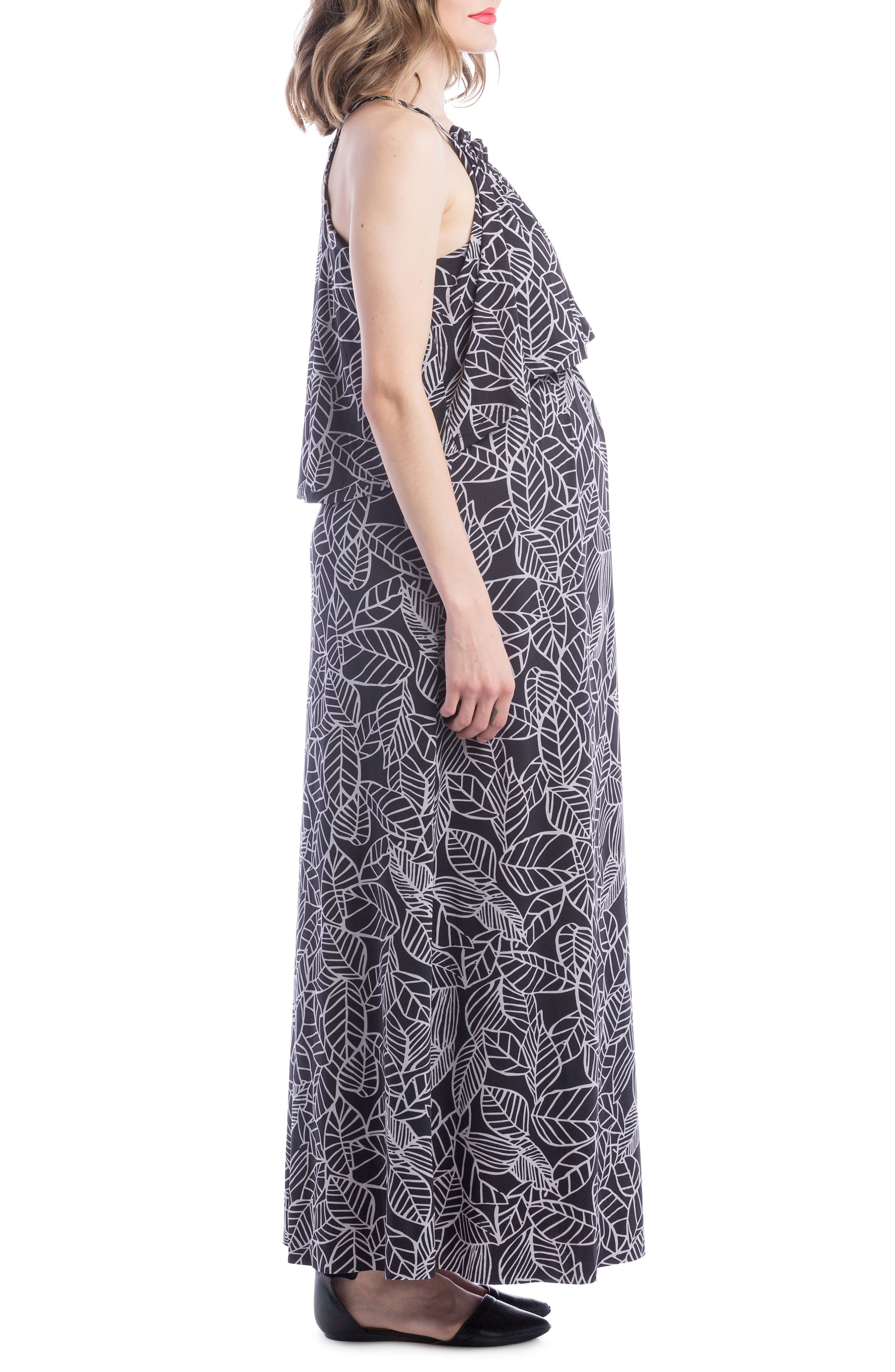Maternity/Nursing Maxi Dress,                             Alternate thumbnail 4, color,                             Black/ Grey Leaf