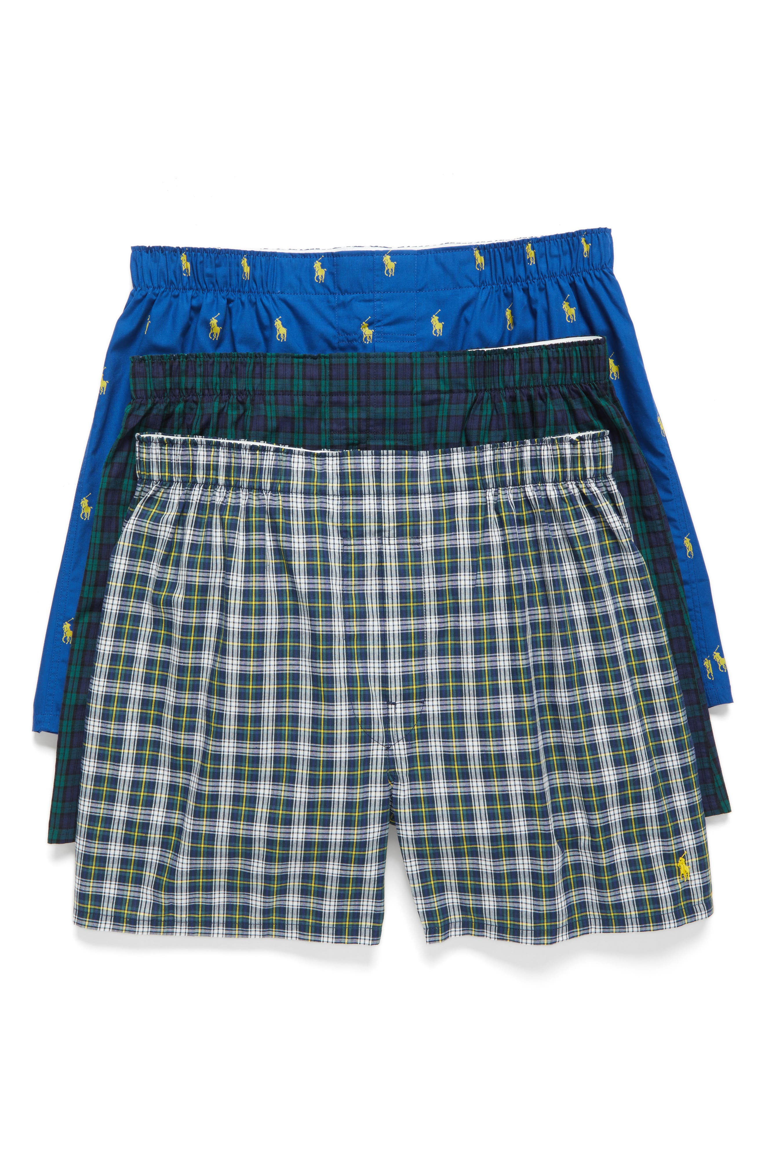Assorted 3-Pack Woven Cotton Boxers,                             Main thumbnail 1, color,                             Blue/ Green Plaid/ Navy Plaid