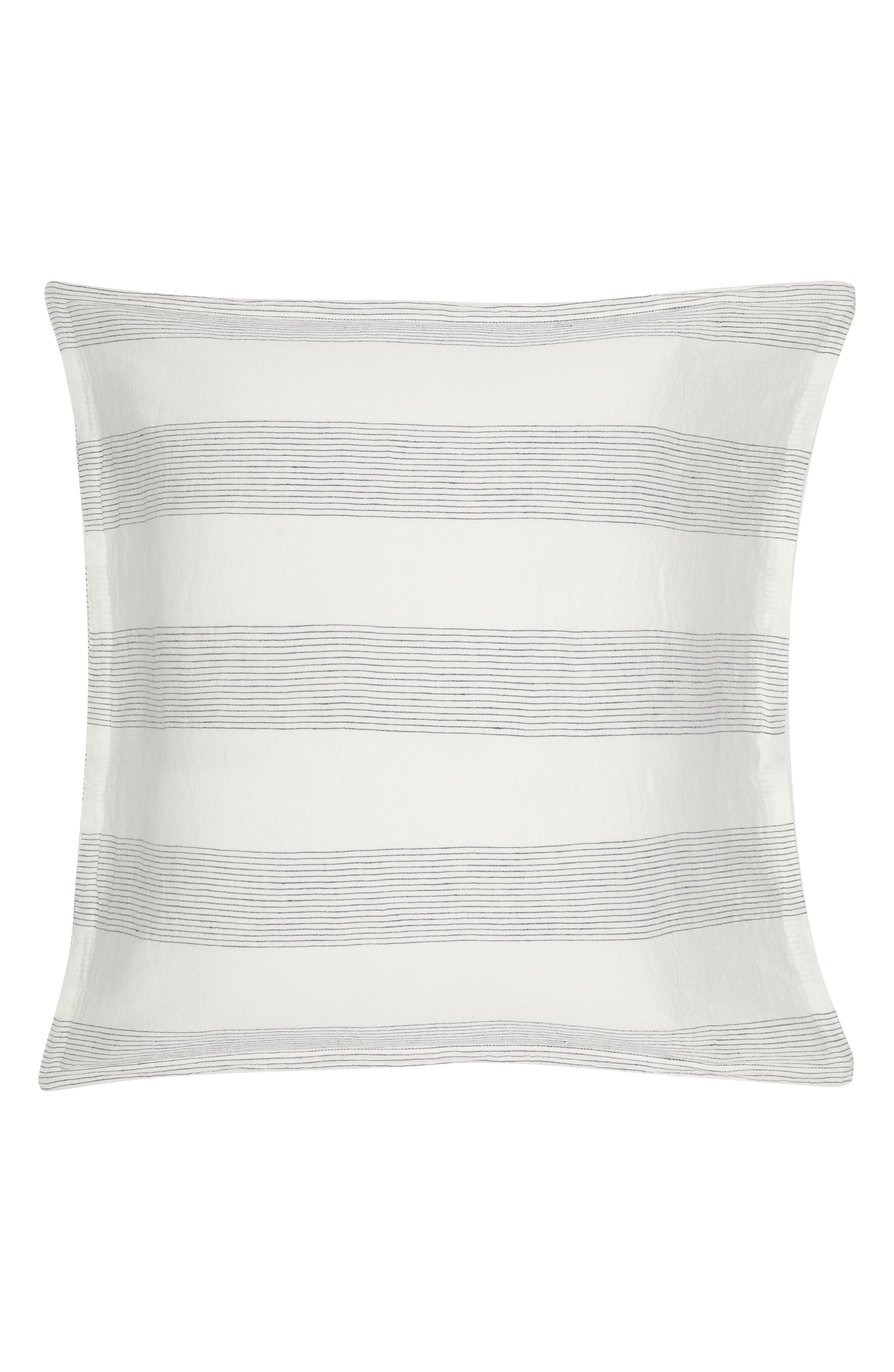 Amagansett Linen Euro Sham,                         Main,                         color, White/ Indigo