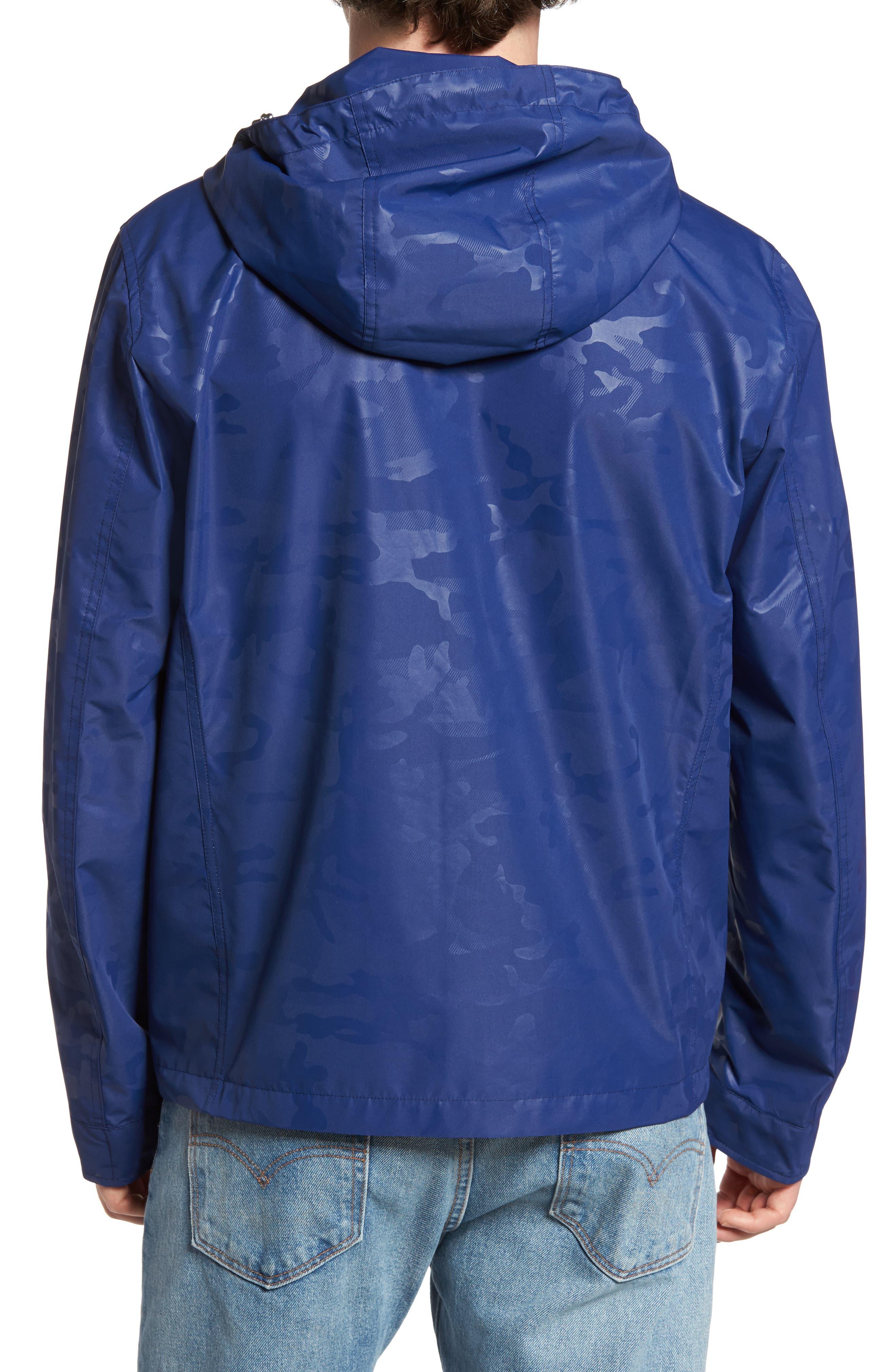 Camou Rudder Waterproof Jacket,                             Alternate thumbnail 2, color,                             Twilight Blue