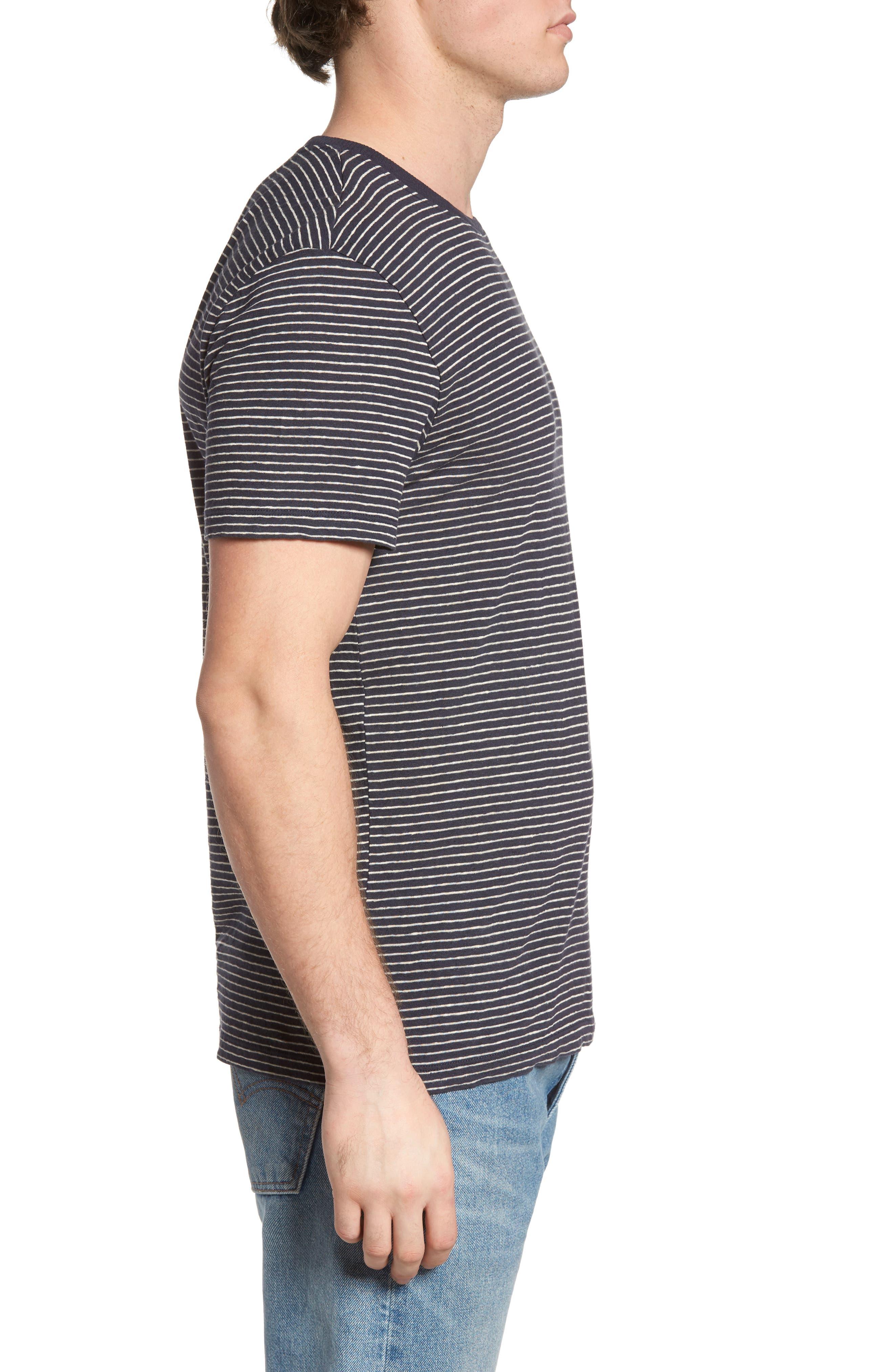John Rich Stripe Cotton & Linen T-Shirt,                             Alternate thumbnail 3, color,                             Dark Navy Stripe B