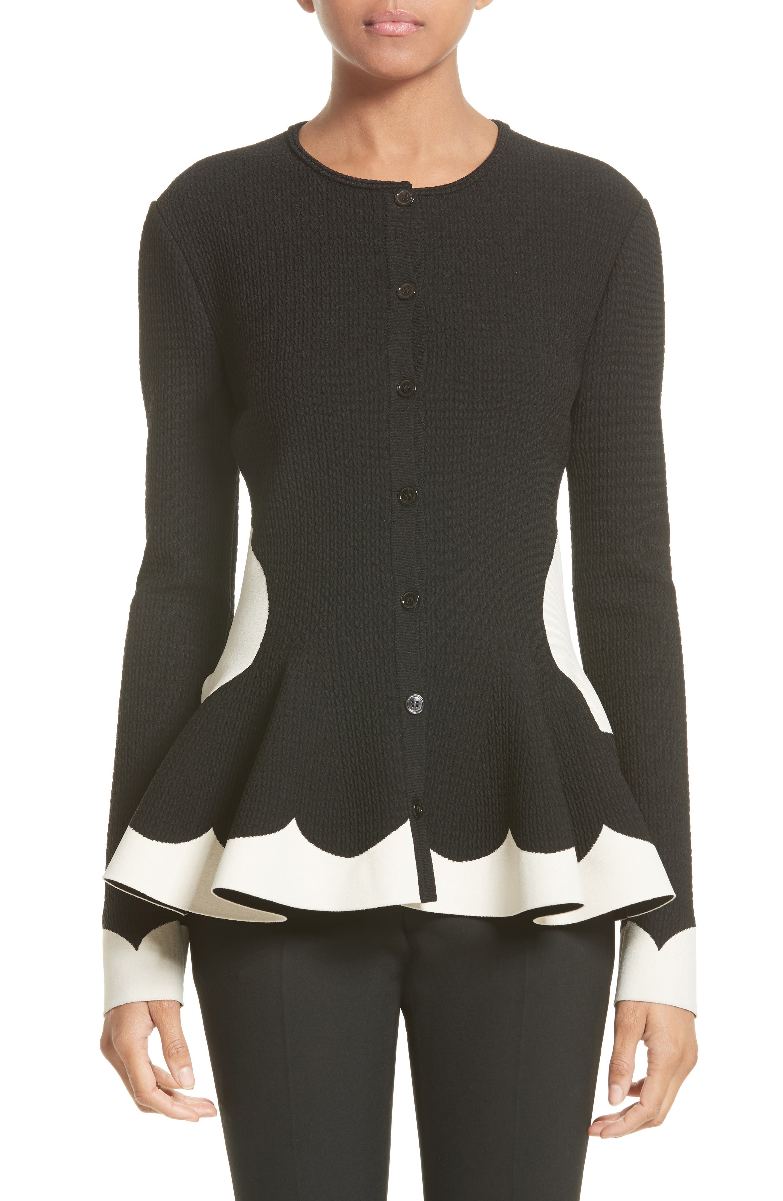 Bicolor Contrast Jacquard Peplum Cardigan,                         Main,                         color, Black/ Ivory