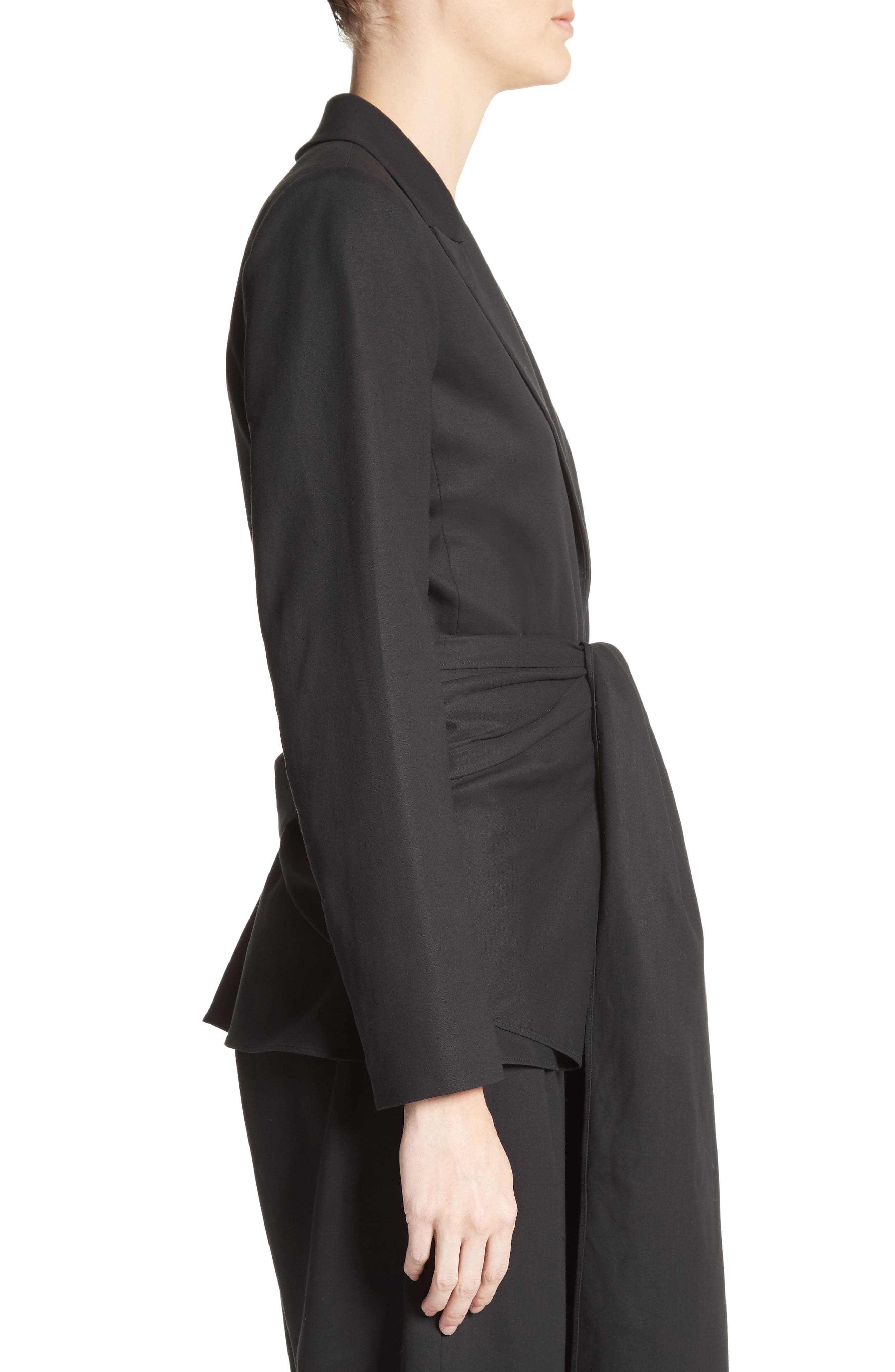 Cotton Gabardine Wrap Blazer,                             Alternate thumbnail 5, color,                             Black