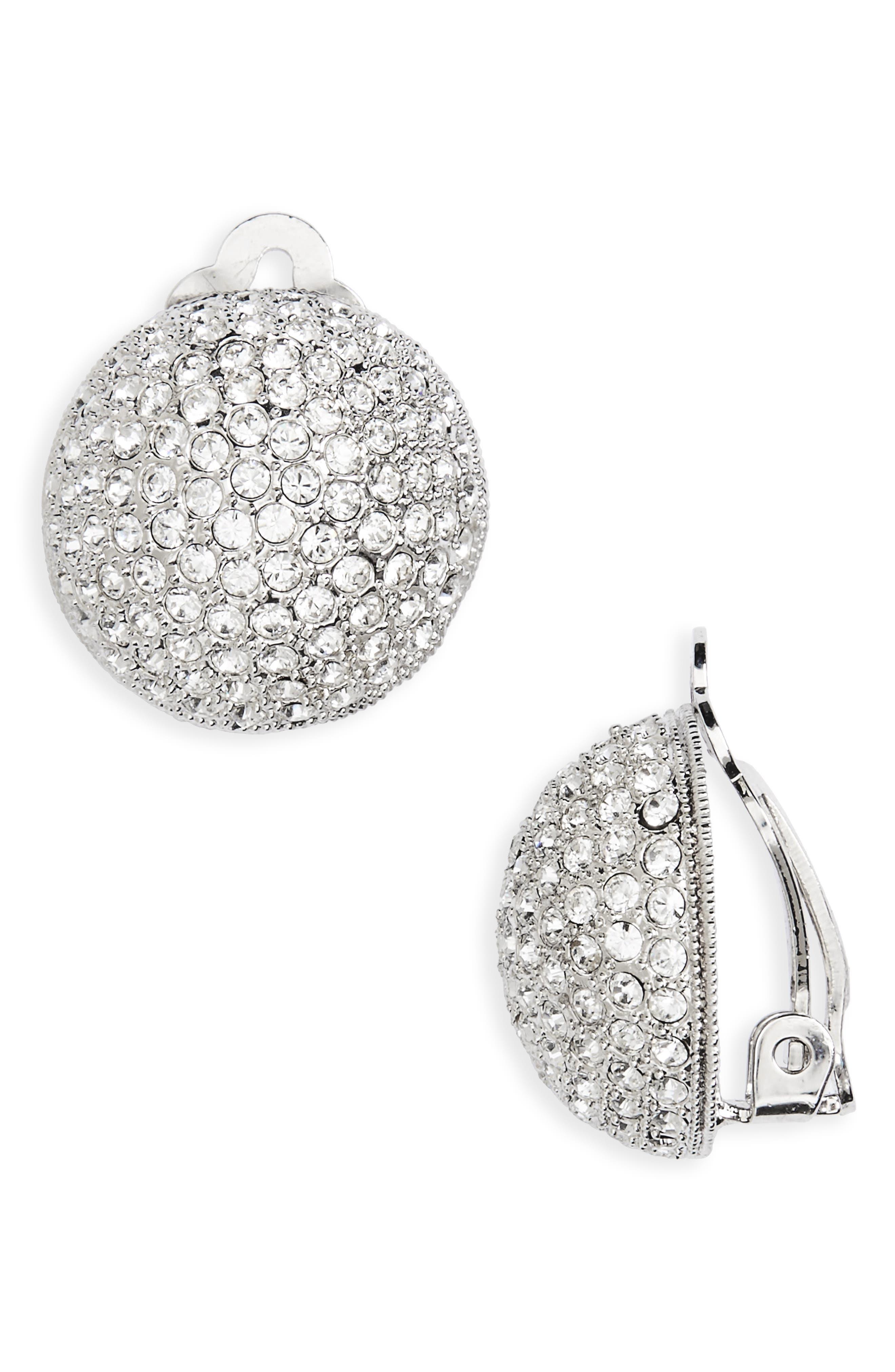 Clip Crystal Earrings,                         Main,                         color, Silver