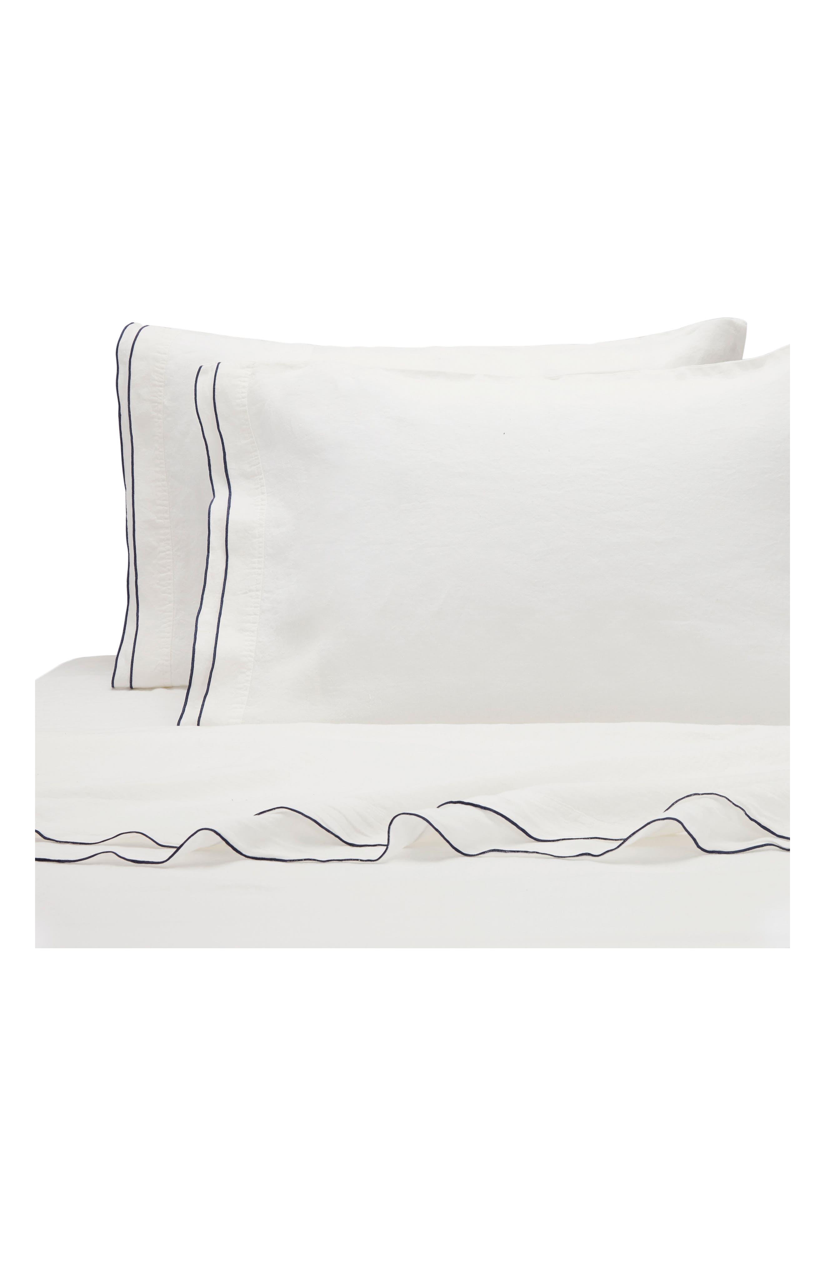 Biarritz Linen 300 Thread Count Pillowcase,                             Main thumbnail 1, color,                             White/ Indigo