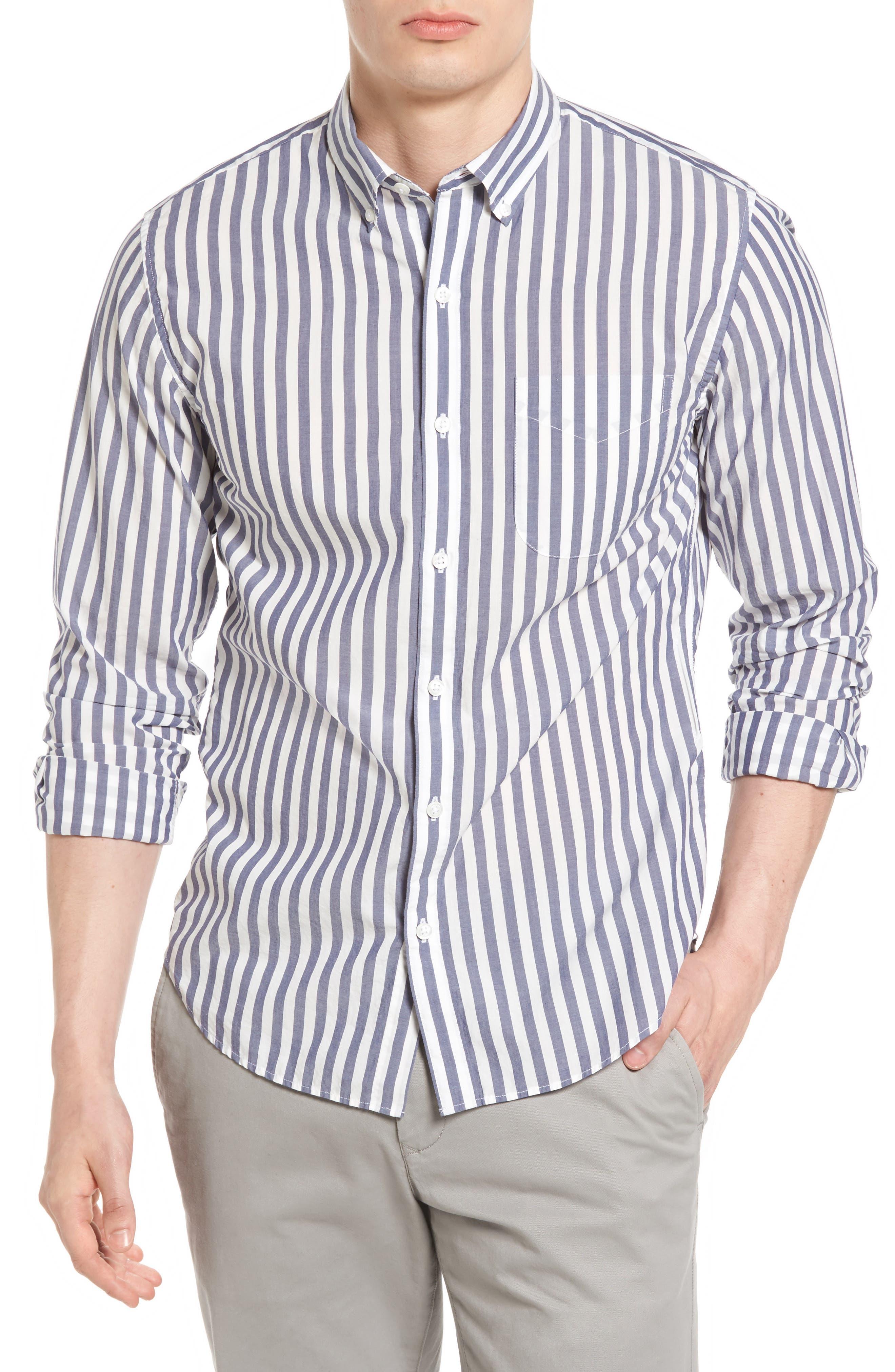 Slim Fit Summerweight Stripe Sport Shirt,                         Main,                         color, Blue Stripe
