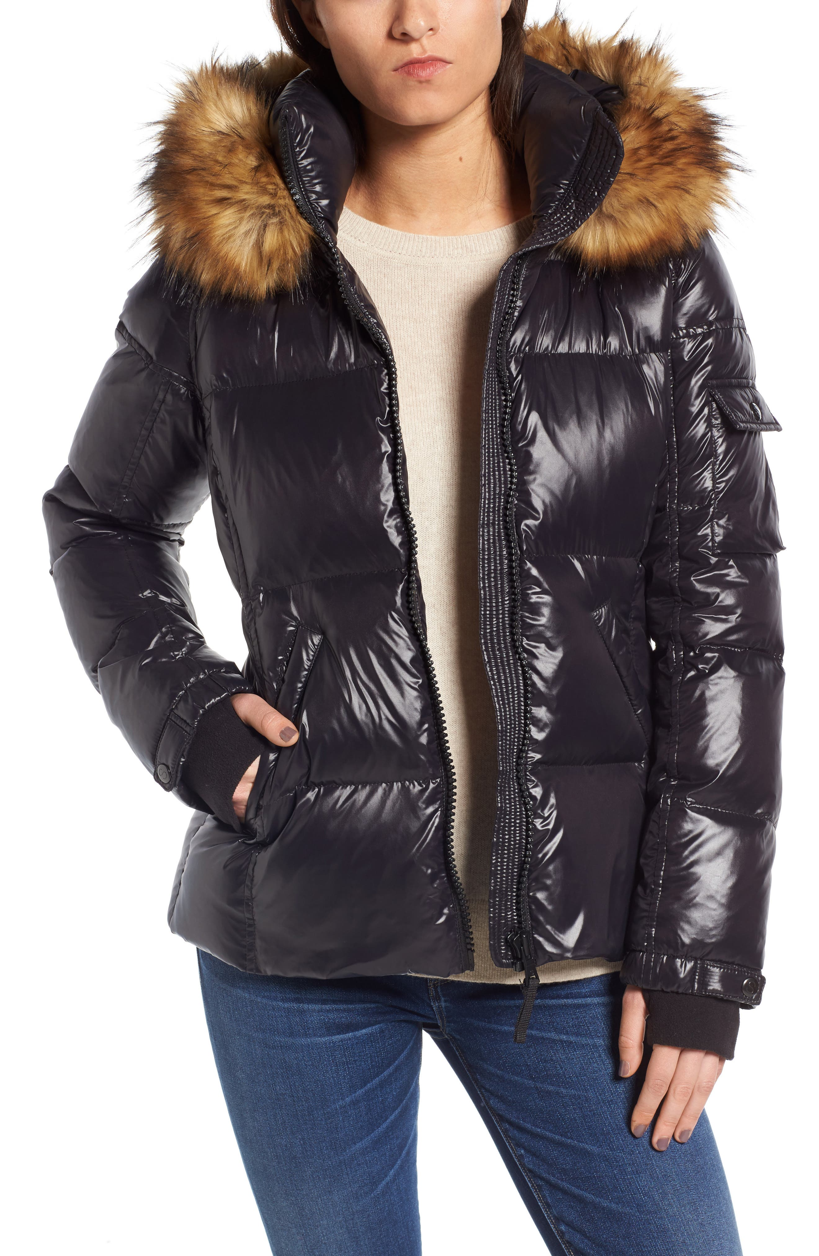 S13/NYC Kylie Faux Fur Trim Gloss Puffer Jacket