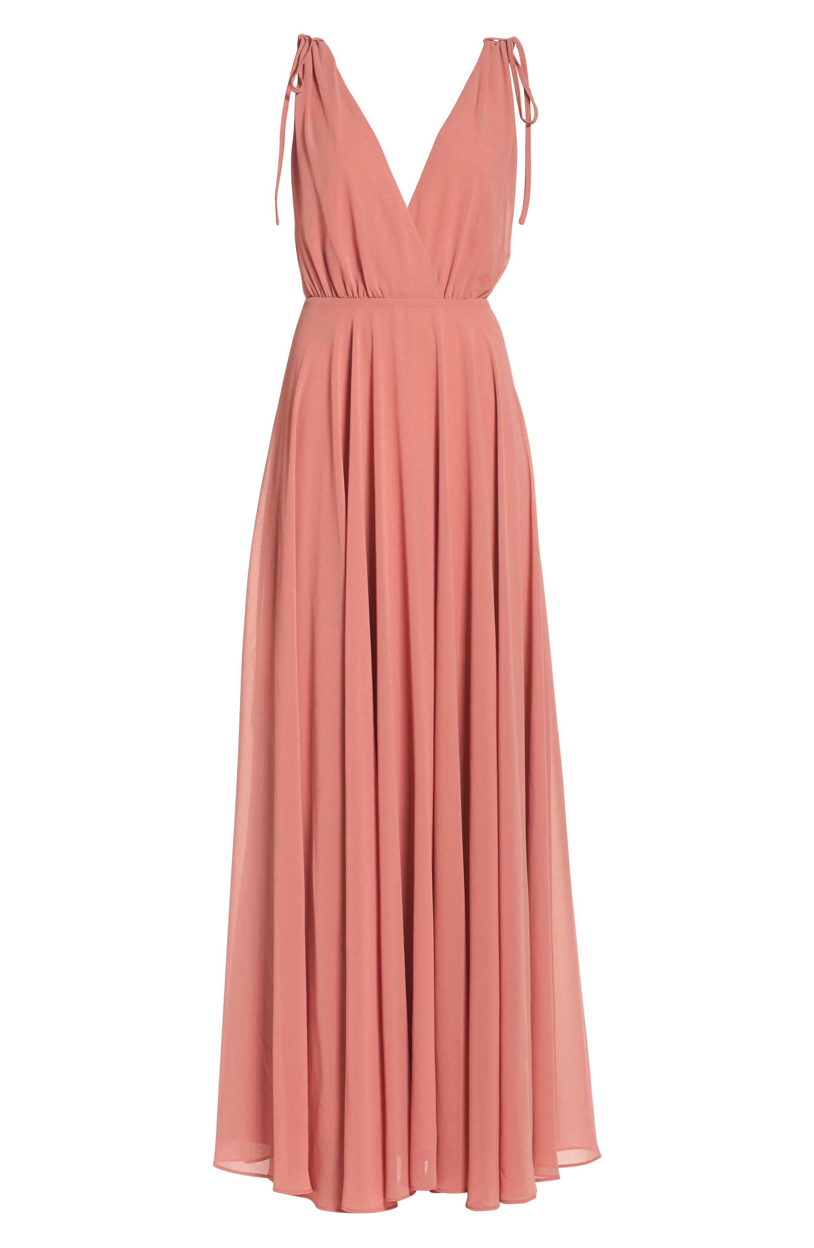Alternate Image 6  - Lulus V-Neck Chiffon Gown