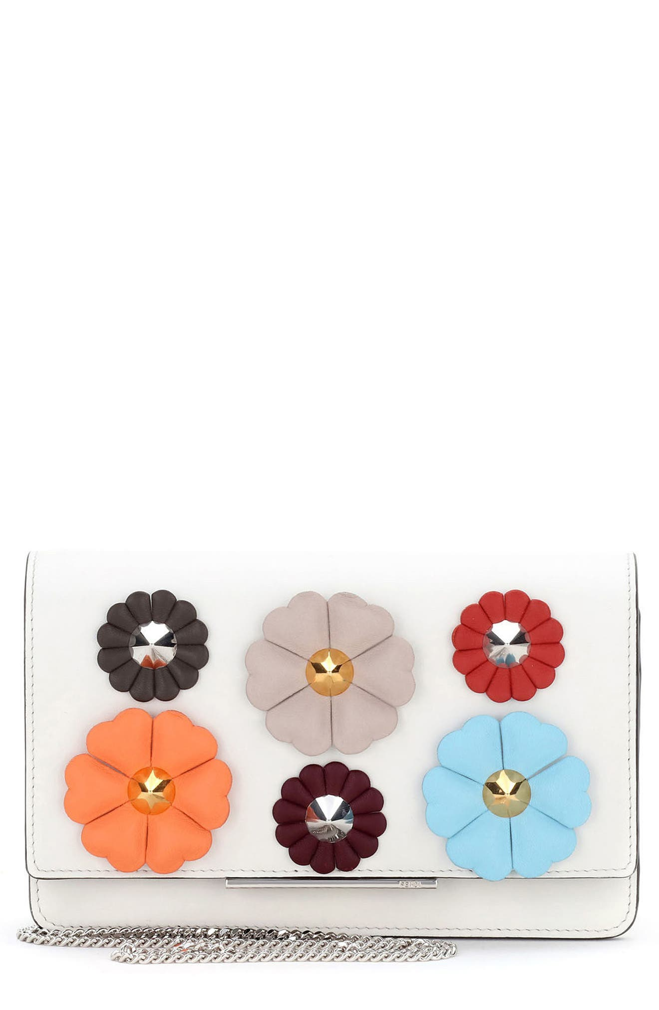 Fendi Flowerland Leather Wallet on a Chain
