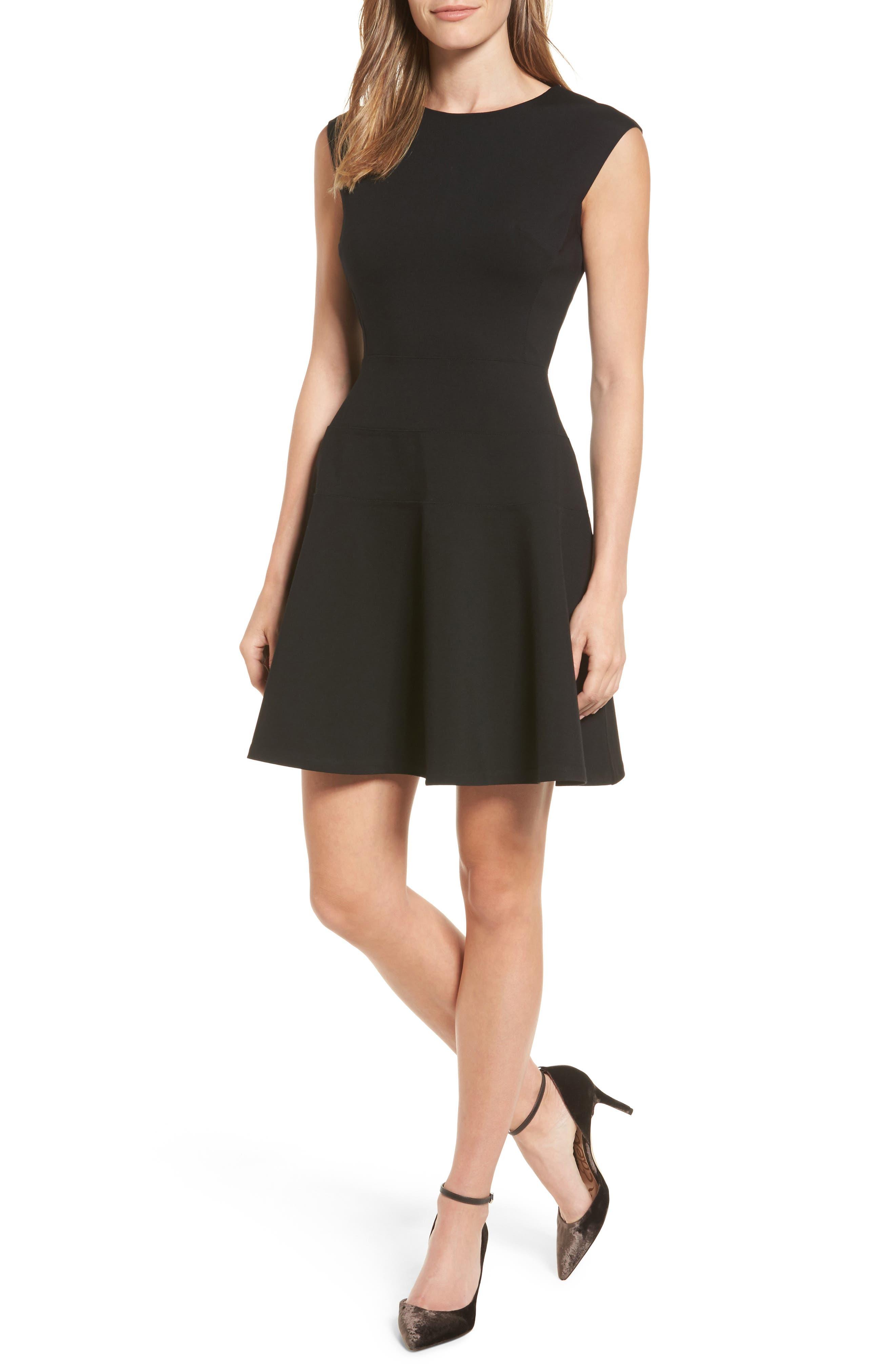 Halogen® Ponte Fit & Flare Dress (Regular & Petite)