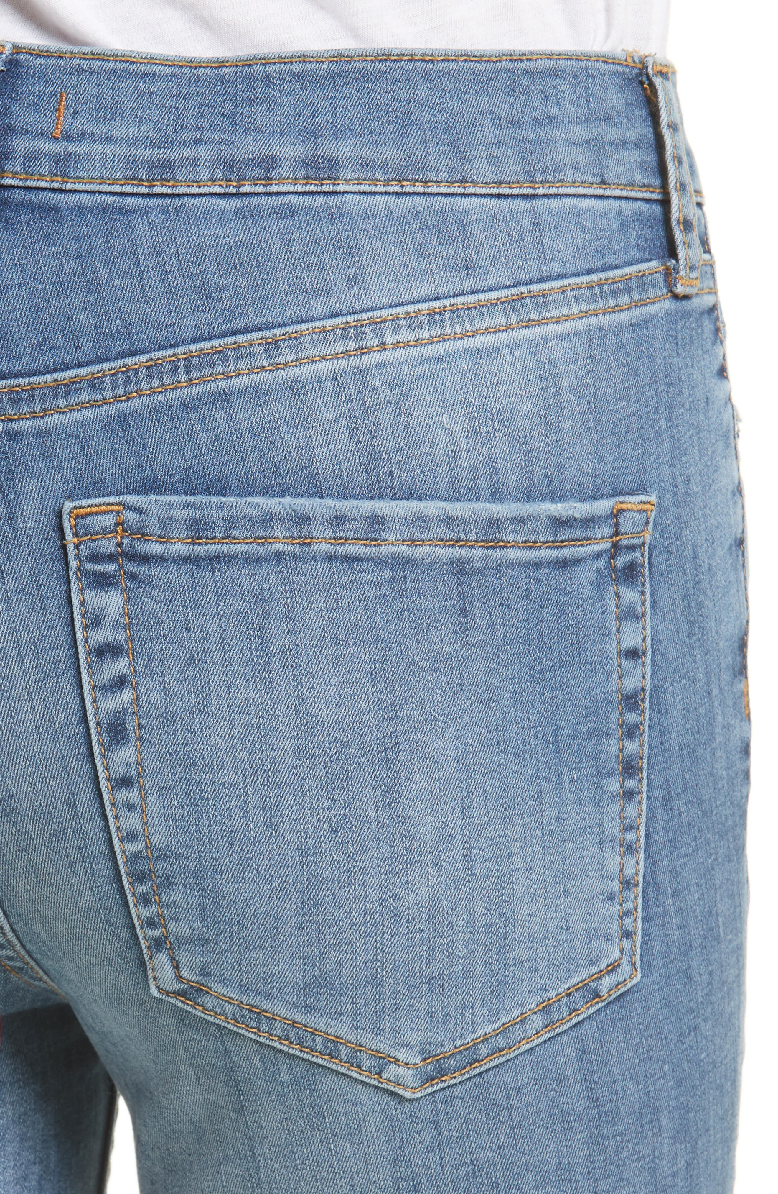 Alternate Image 4  - Free People High Rise Busted Knee Skinny Jeans (Light Denim)