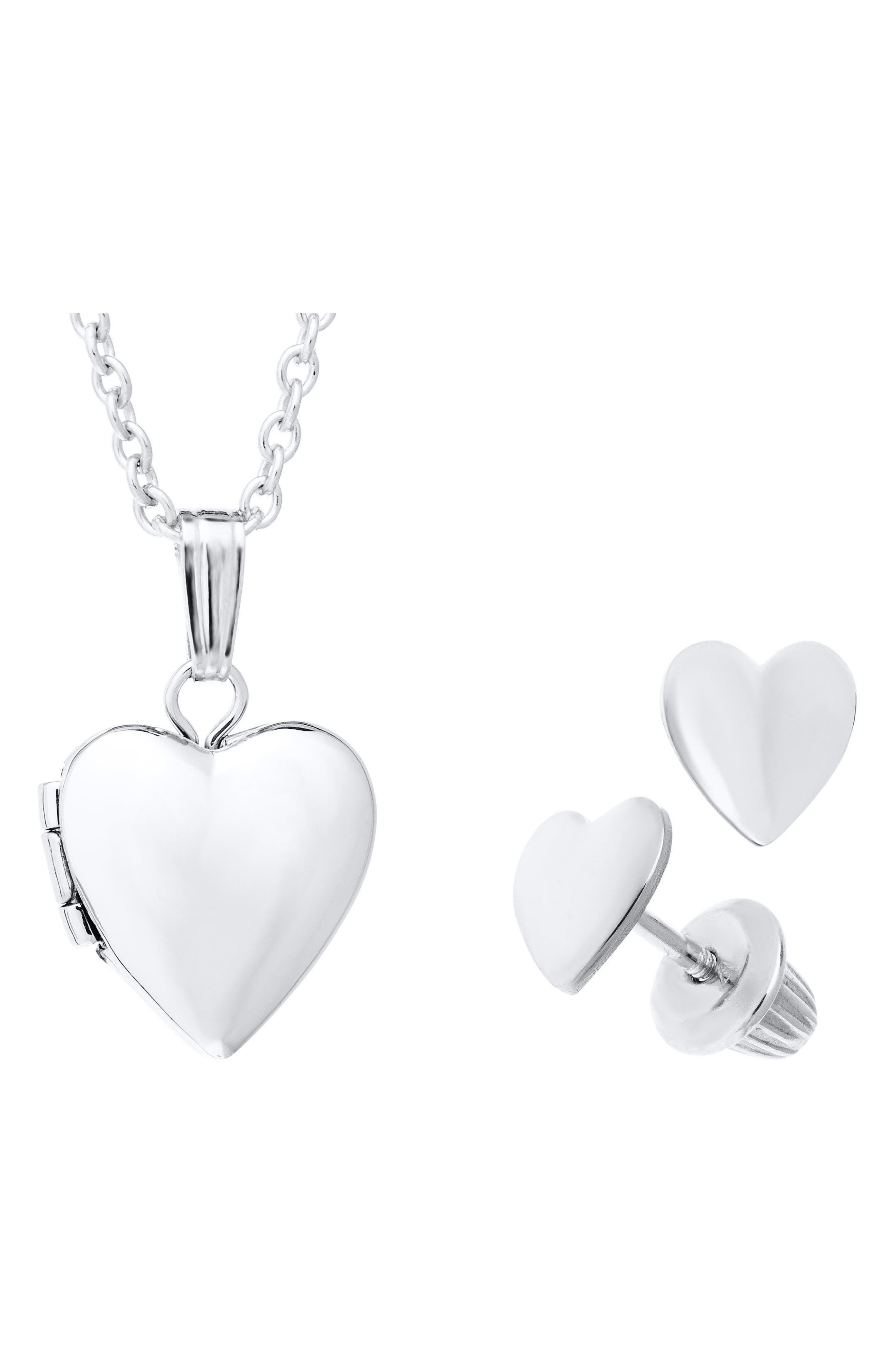 Alternate Image 1 Selected - Mignonette Sterling Silver Heart Locket Necklace & Earrings Set (Girls)