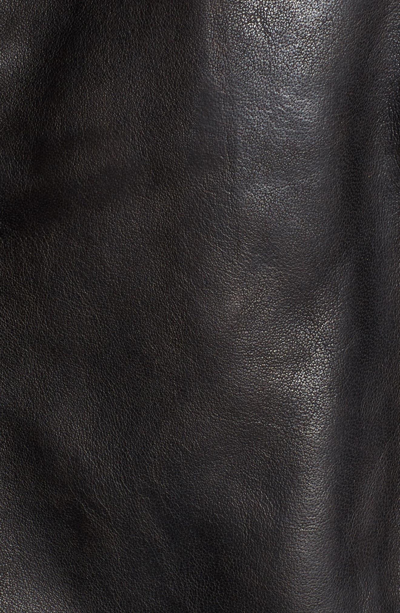 Andrew Marc Wesley Washed Leather Biker Jacket,                             Alternate thumbnail 5, color,                             Black