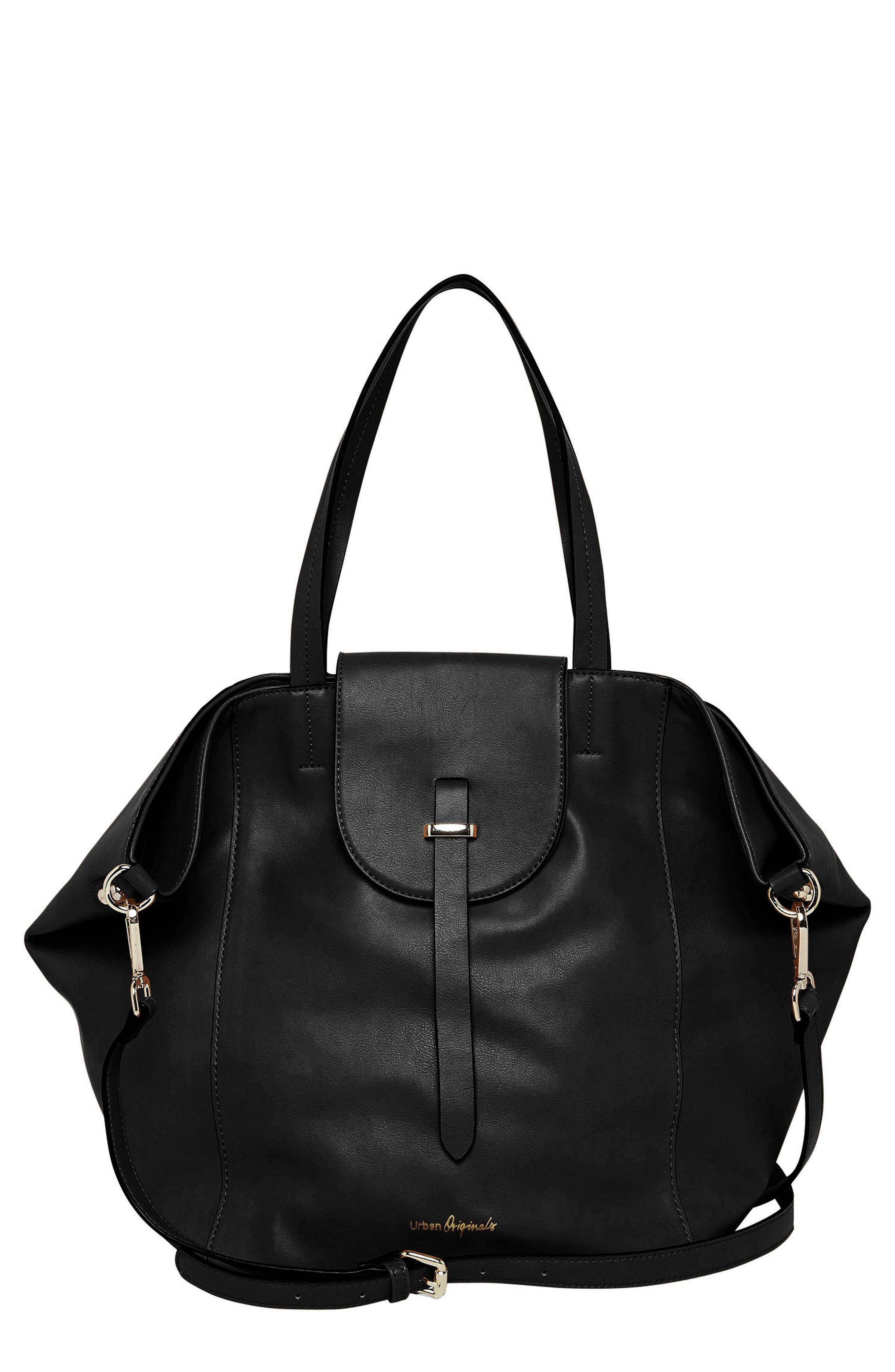 Urban Orginals Desire Vegan Leather Bucket Bag,                             Main thumbnail 1, color,                             Black