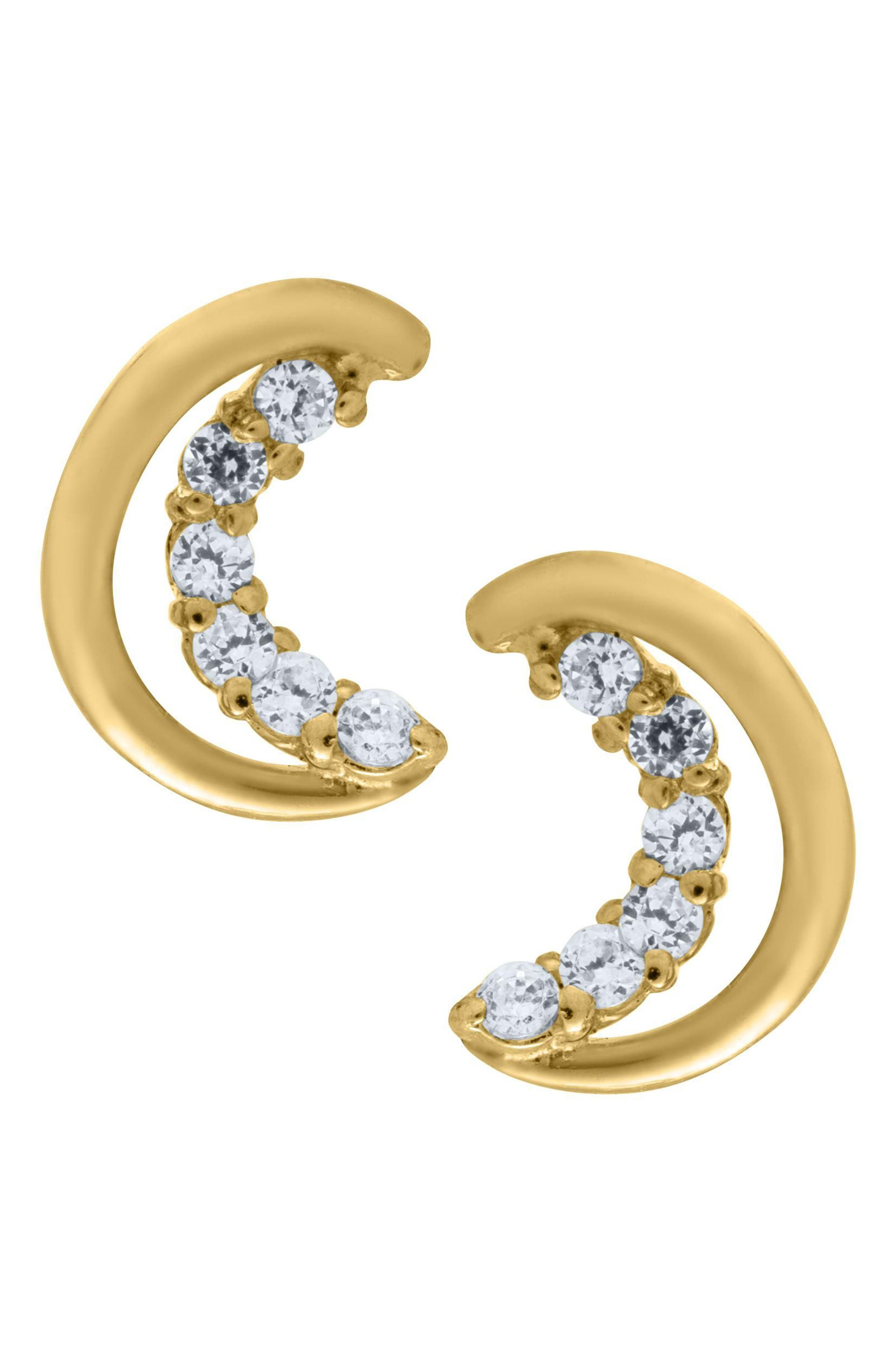 14k Gold Half Moon Earrings,                         Main,                         color, Gold