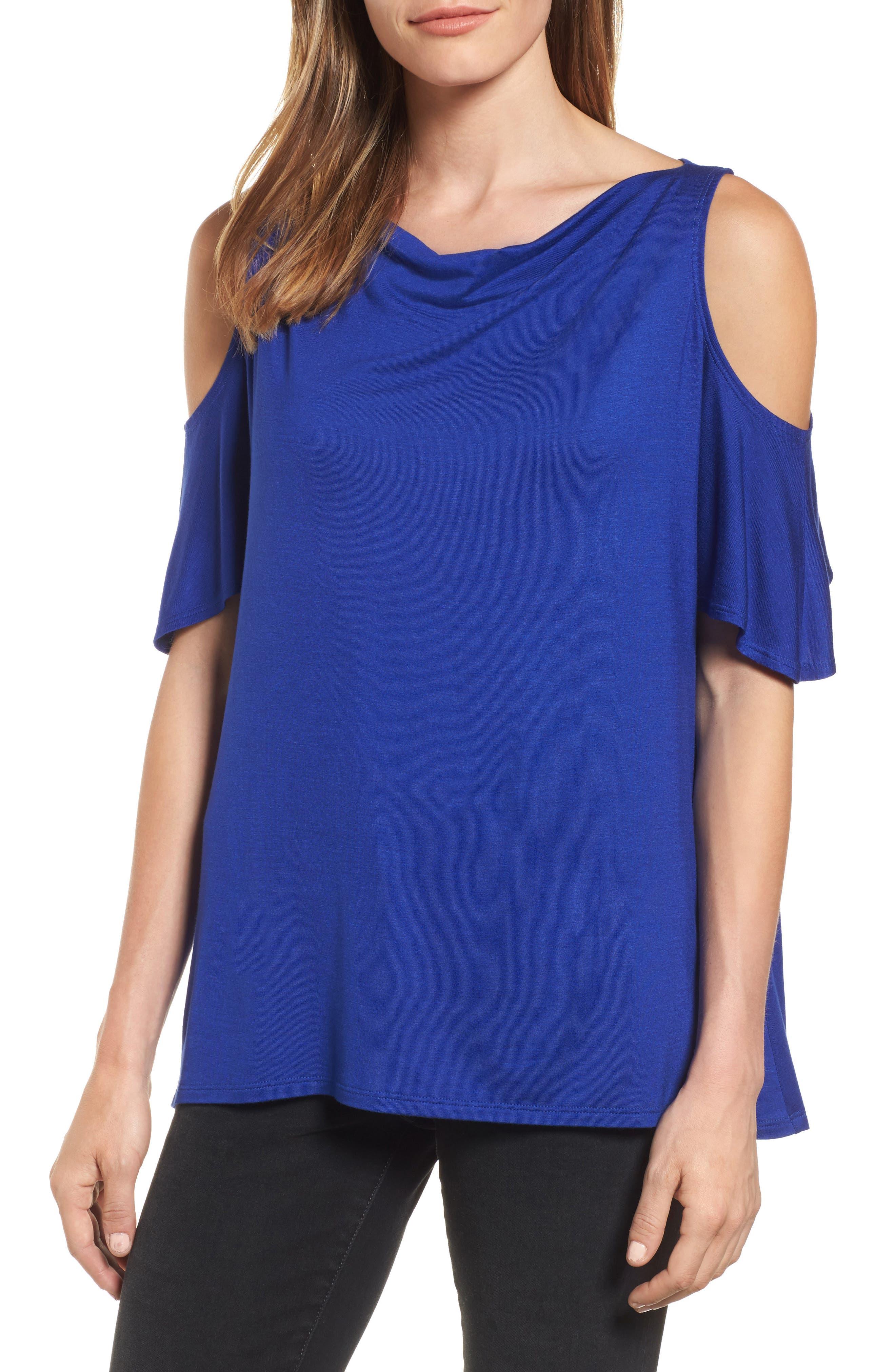 Cold Shoulder Top,                         Main,                         color, Sapphire