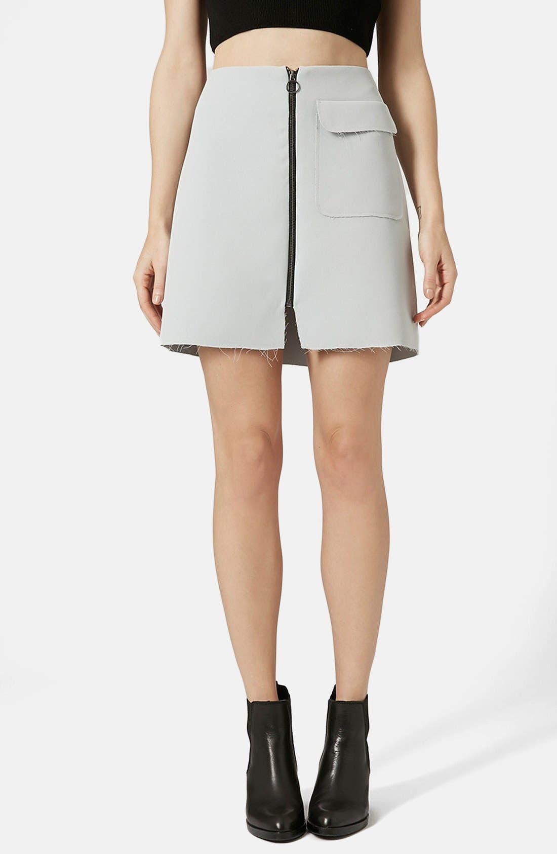 Alternate Image 1 Selected - Topshop Distressed Crepe A-Line Skirt