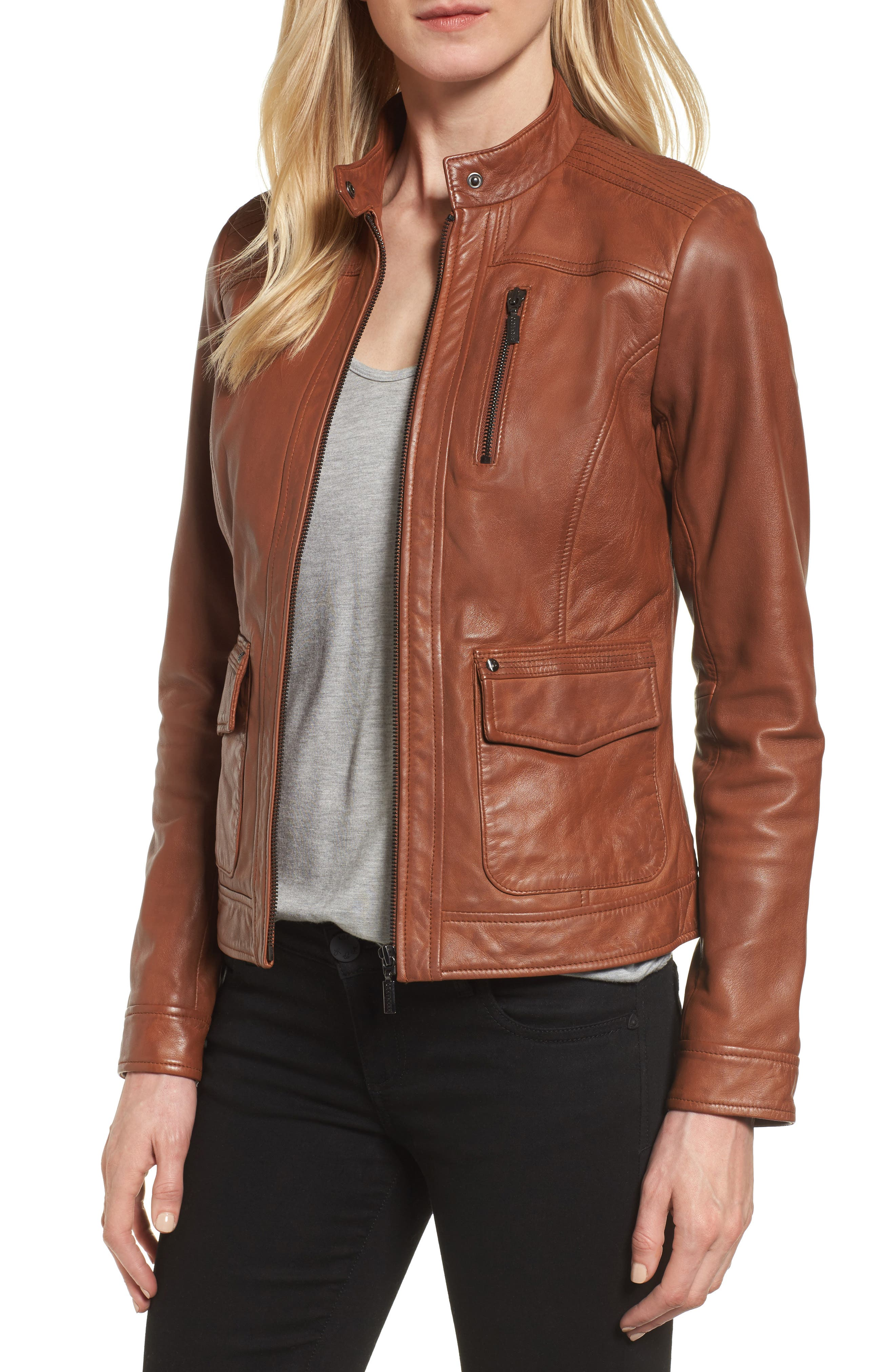 Kerwin Pocket Detail Leather Jacket,                         Main,                         color, Amber