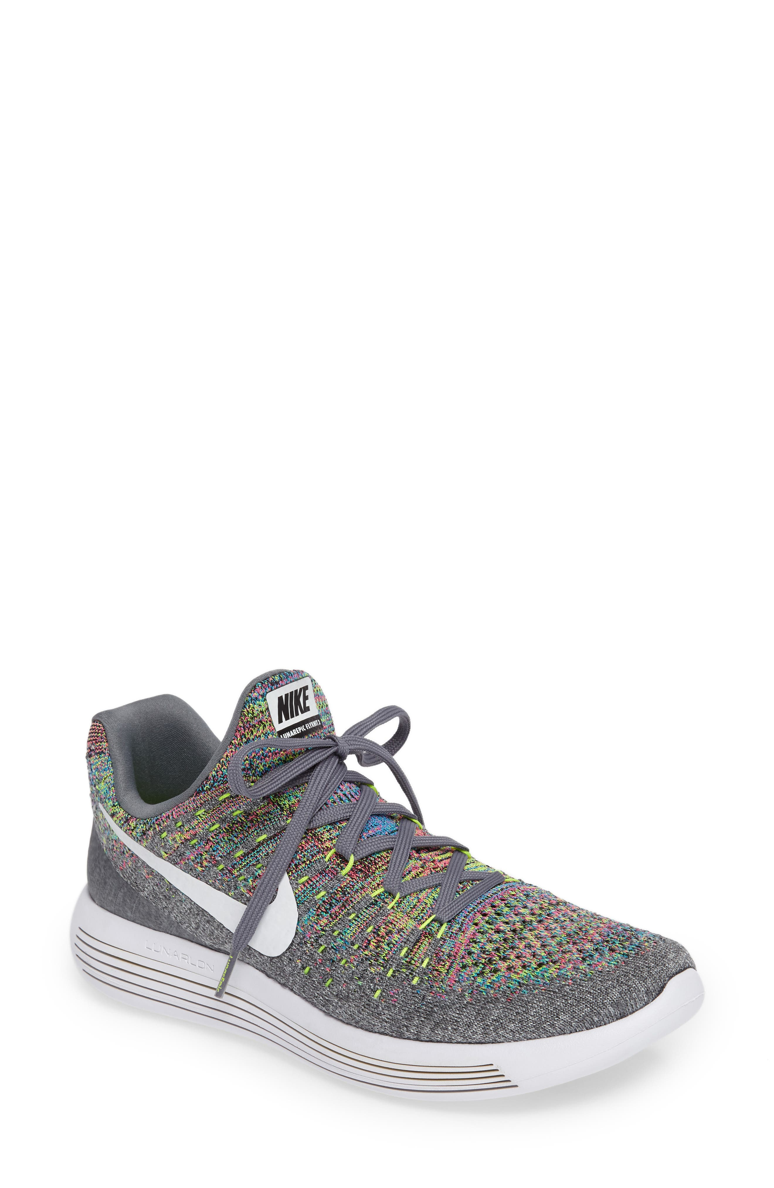 LunarEpic Low Flyknit 2 Running Shoe,                         Main,                         color, Grey/ White/ Volt/ Blue Glow