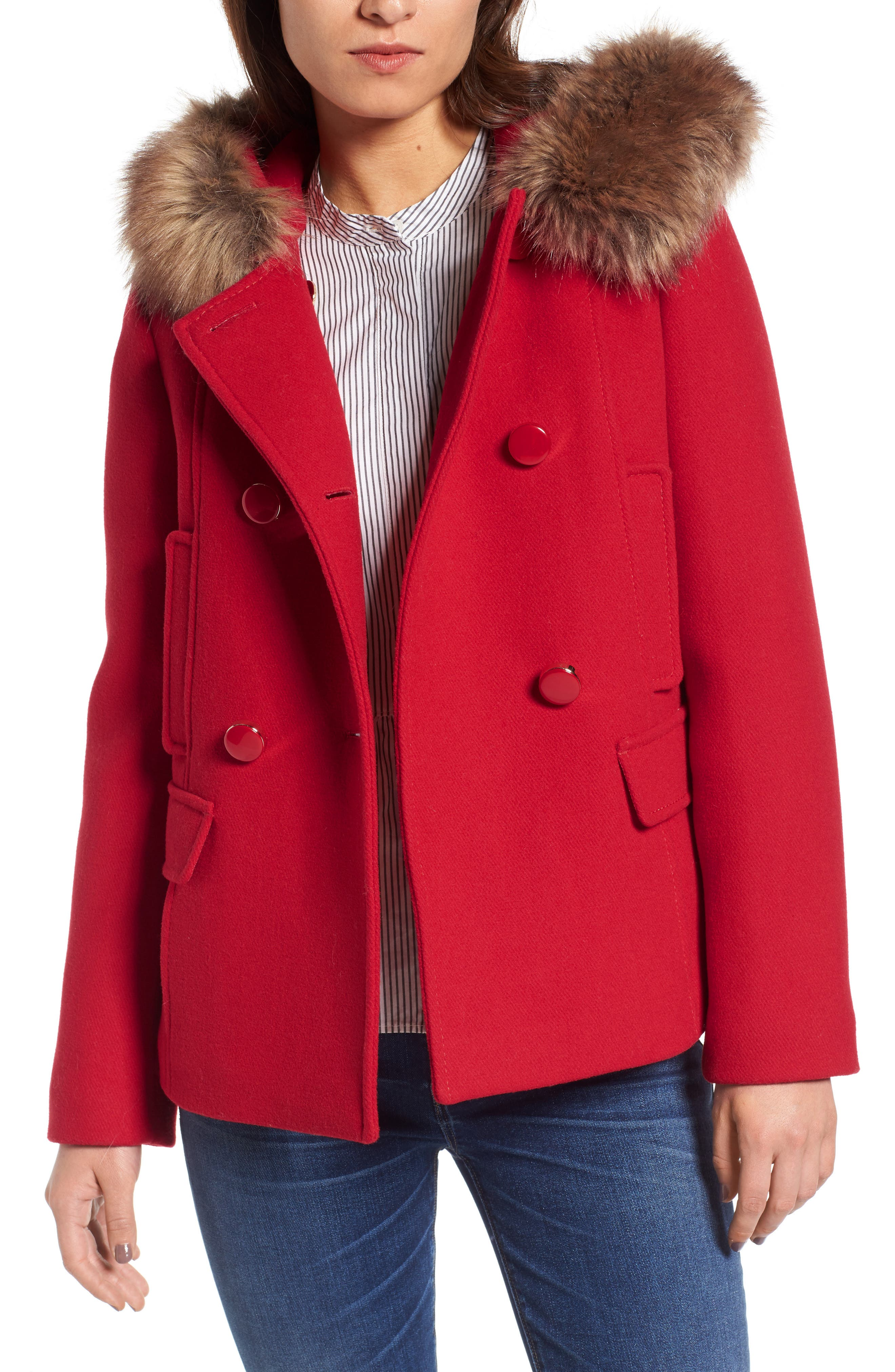 faux fur trim hooded peacoat,                         Main,                         color, Posy Red