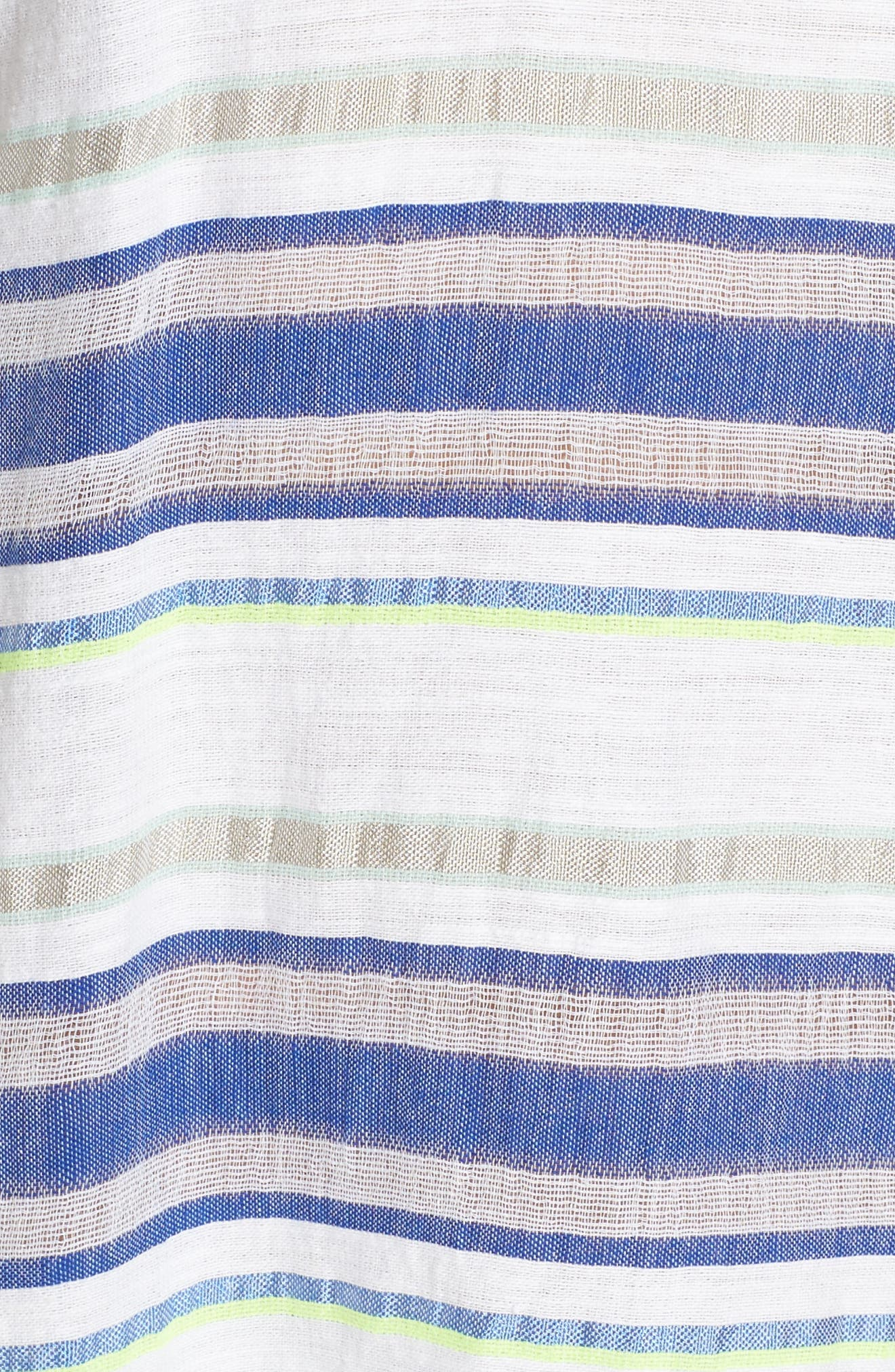 Stripe Cover-Up Tunic,                             Alternate thumbnail 5, color,                             Aqua
