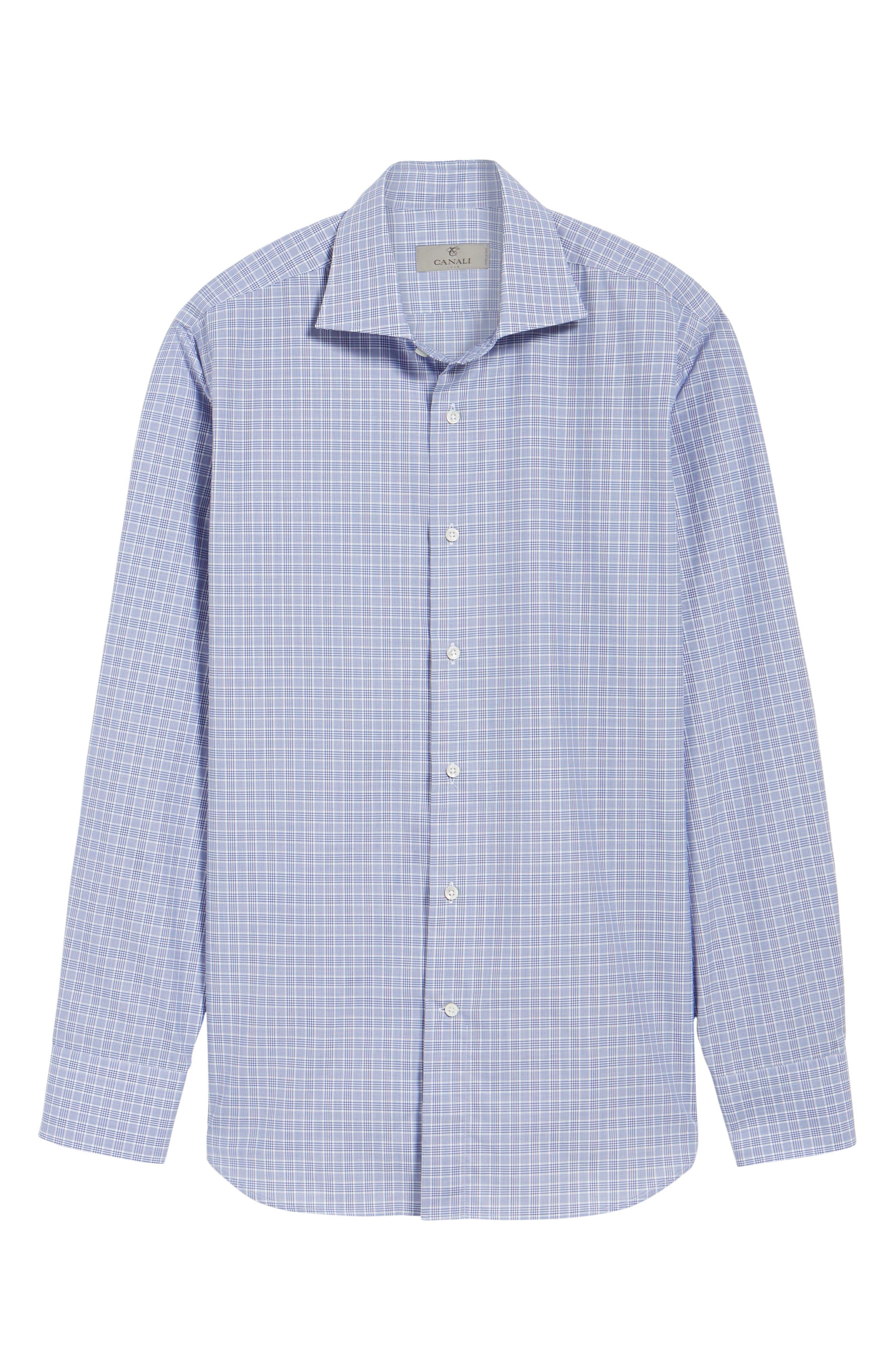 Alternate Image 5  - Canali Regular Fit Plaid Dress Shirt