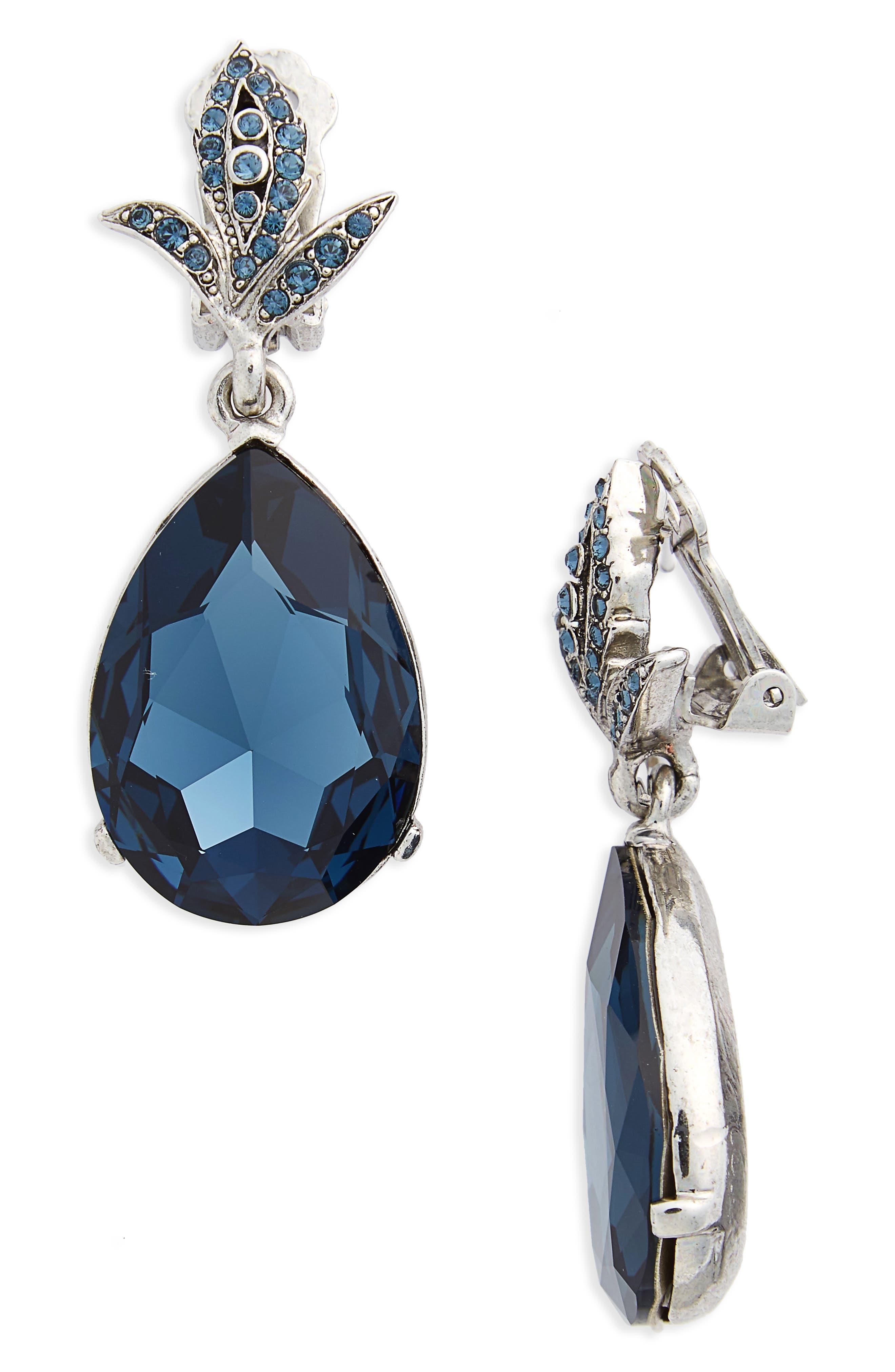Oscar de la Renta Crystal Teardrop Clip Earrings