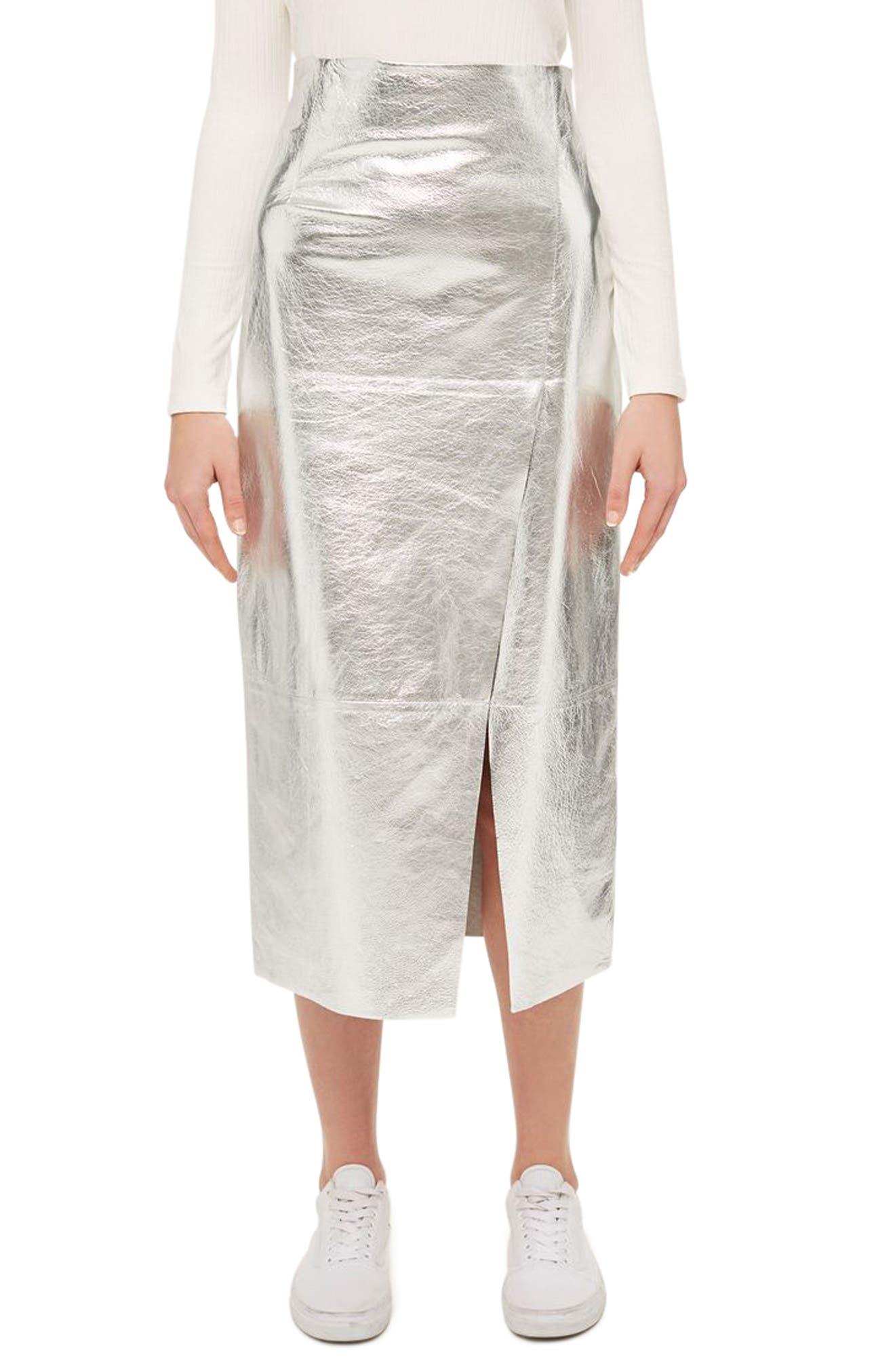 TOPSHOP BOUTIQUE Foil Leather Midi Skirt