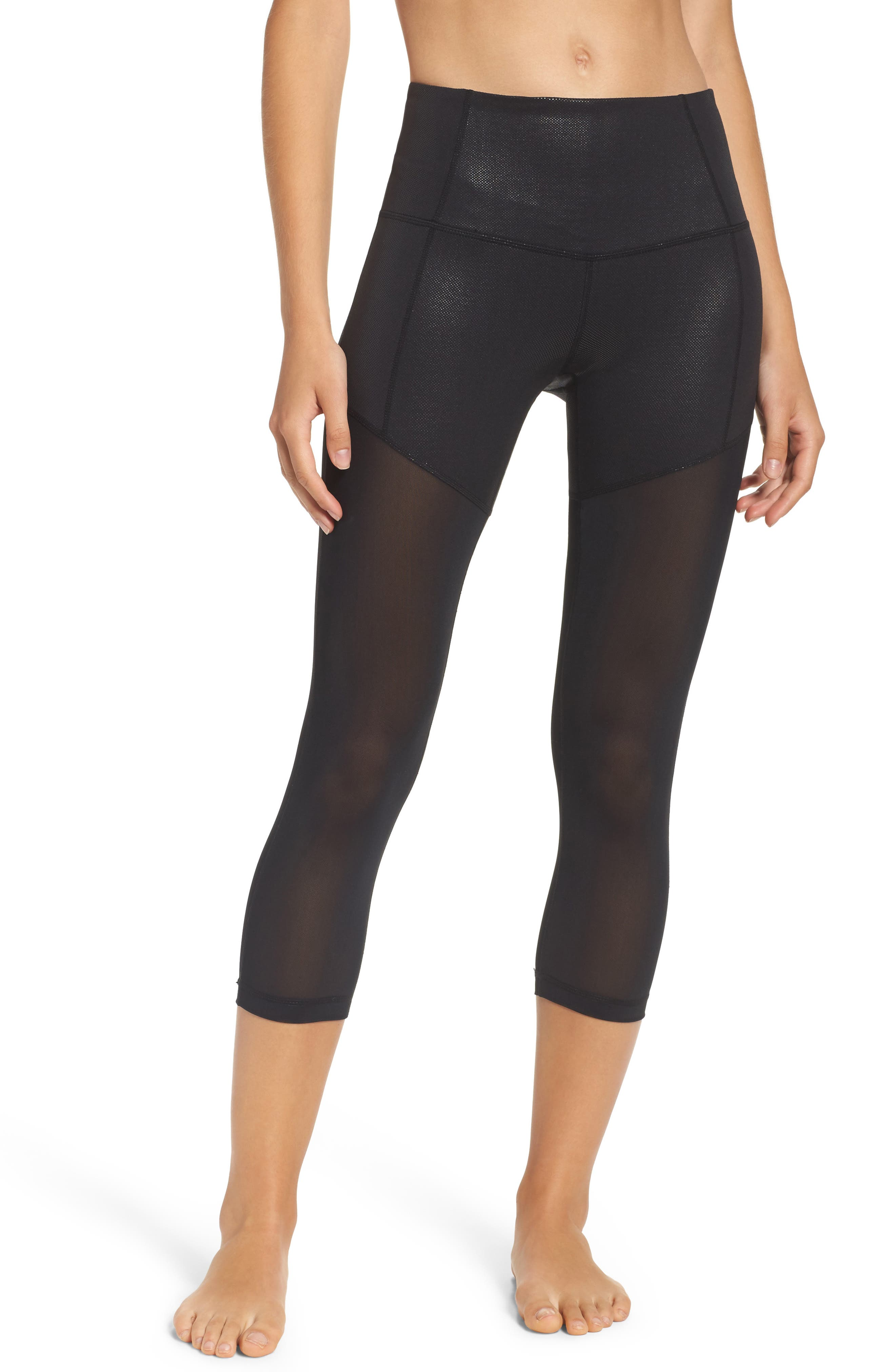 ZELLA Pearl High Waist Laminate Crop Leggings
