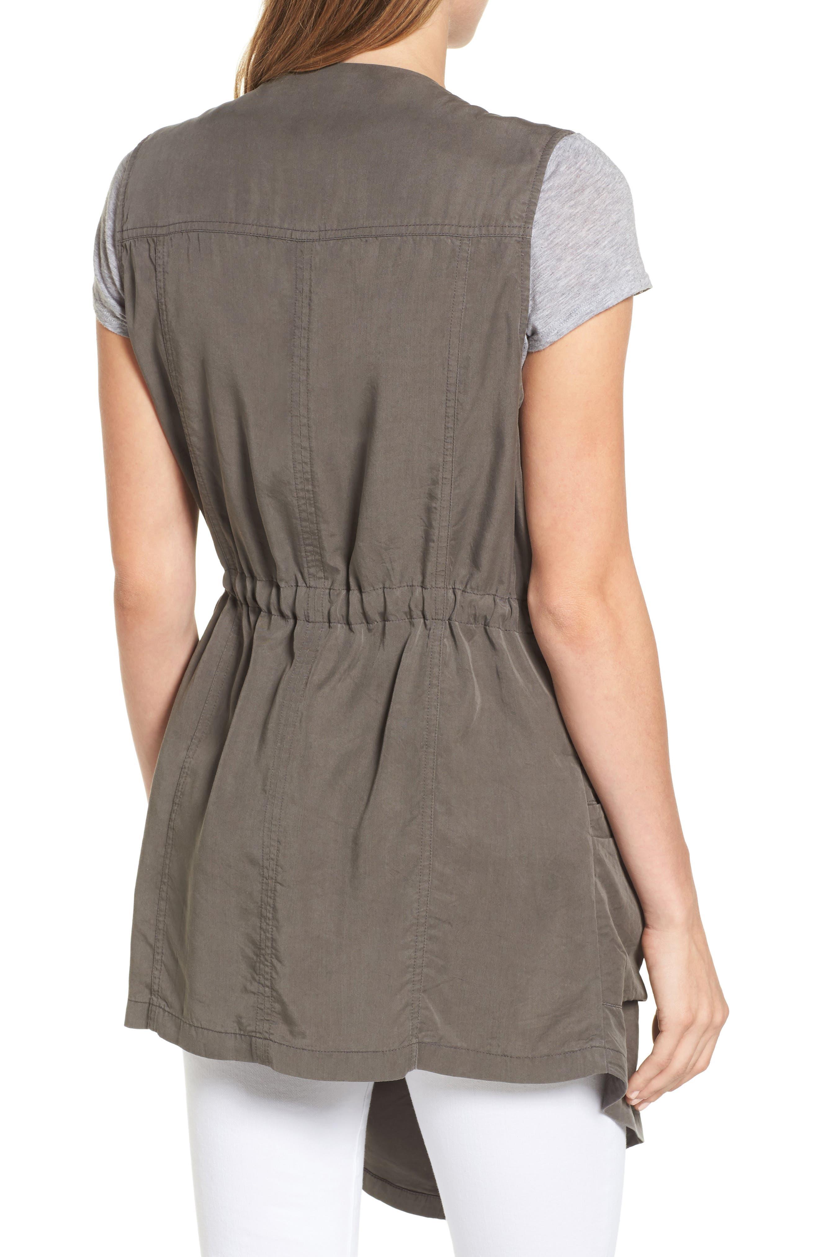 Drape Front Utility Vest,                             Alternate thumbnail 2, color,                             Olive