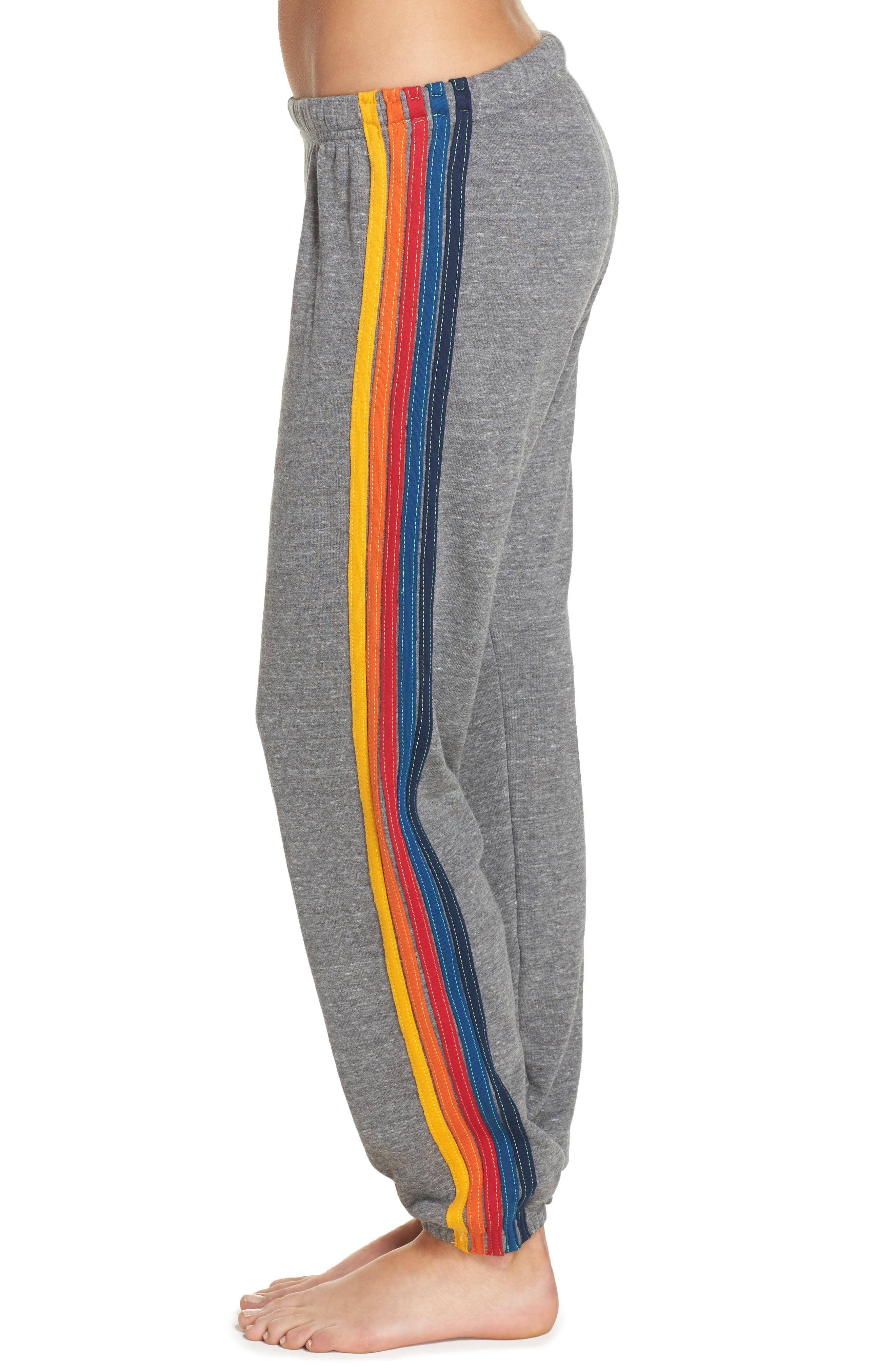 Stripe Sweatpants,                             Alternate thumbnail 4, color,                             Heather Grey