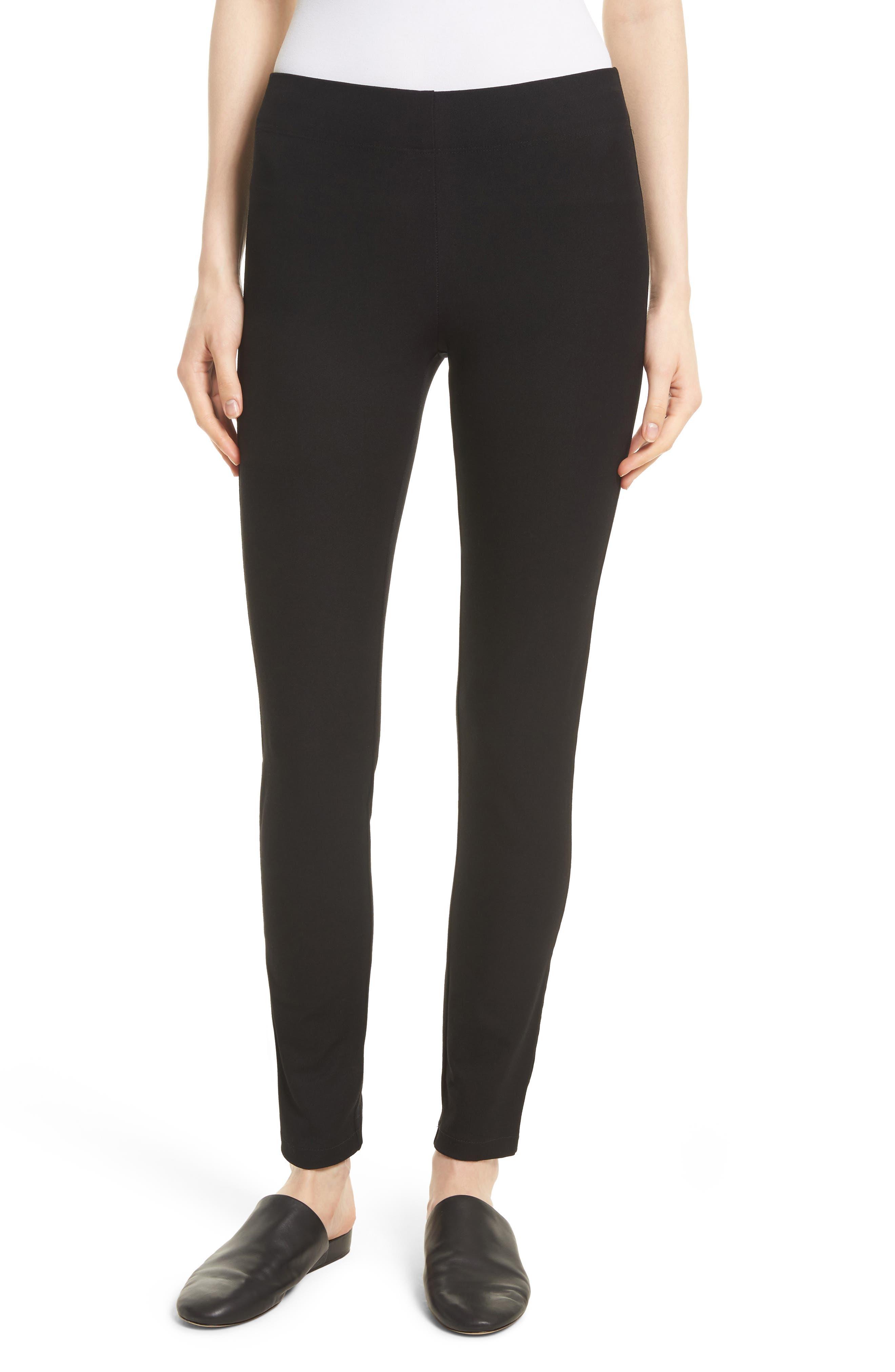 Stretch Gabardine Straight Leggings,                         Main,                         color, Black