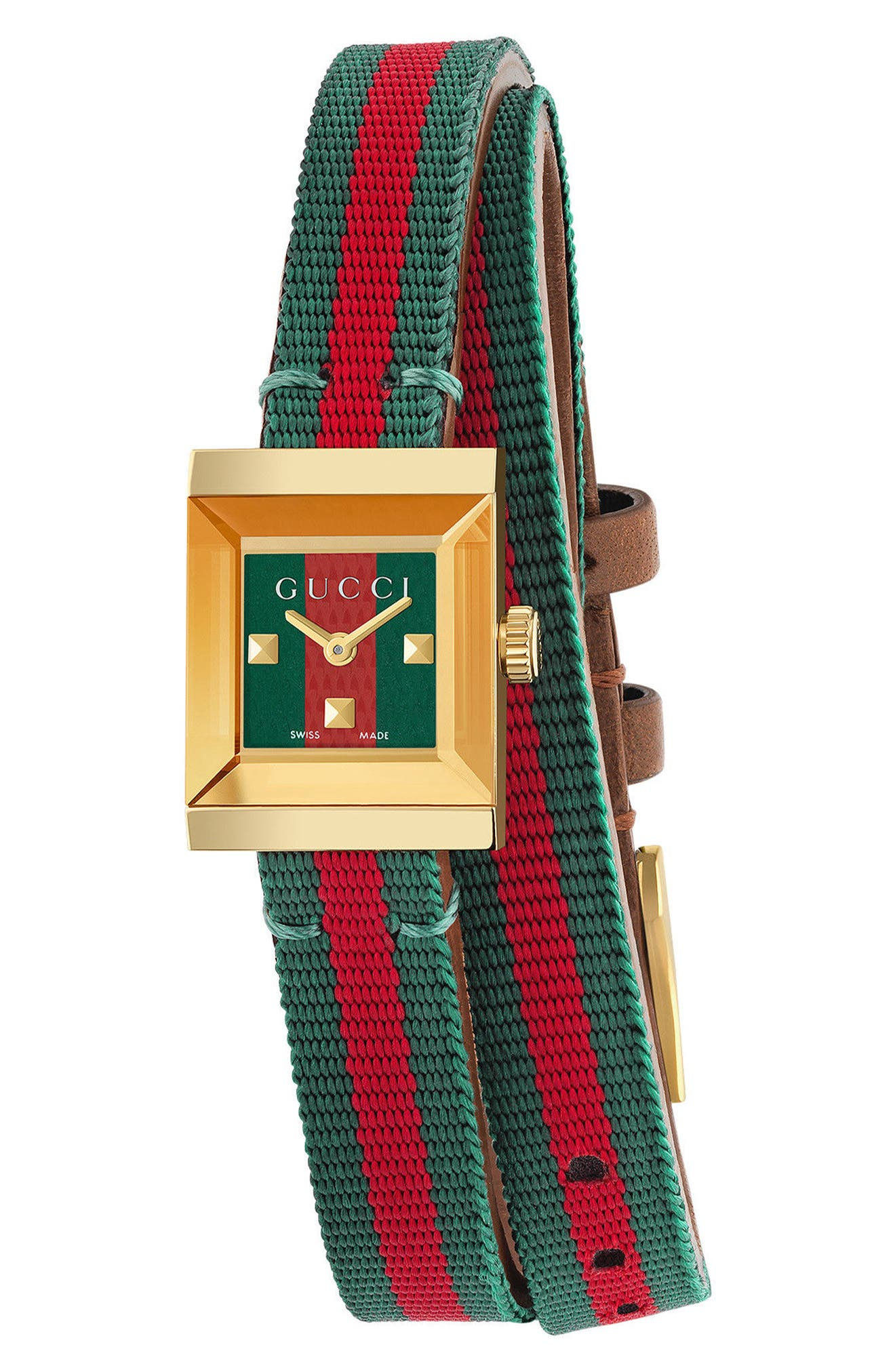 G-Frame Square Nylon Wrap Strap Watch, 14mm x 18mm,                         Main,                         color, Green/ Red/ Gold