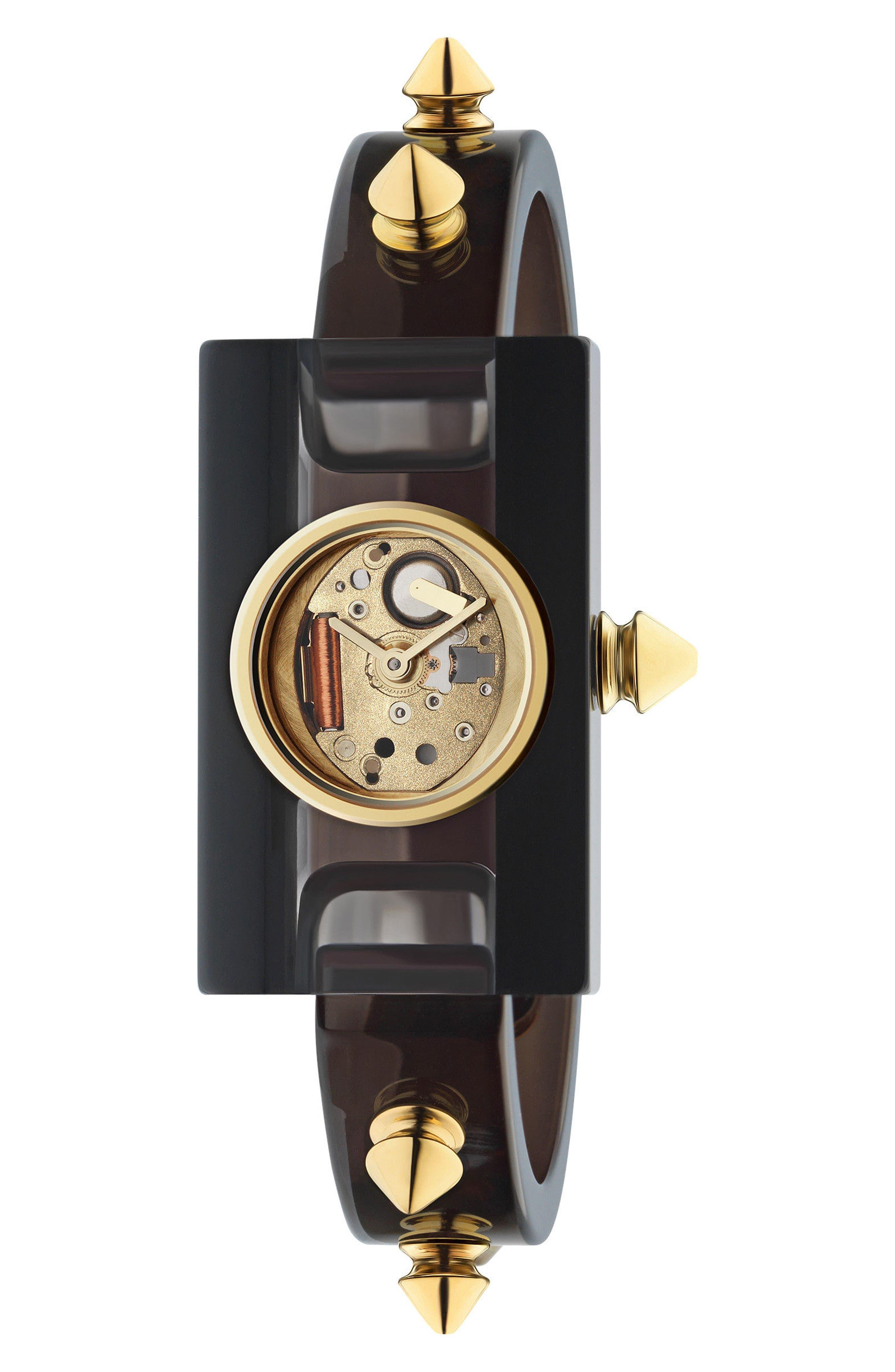 Plexiglas Bracelet Watch, 24mm x 40mm,                         Main,                         color, Black/ Gold