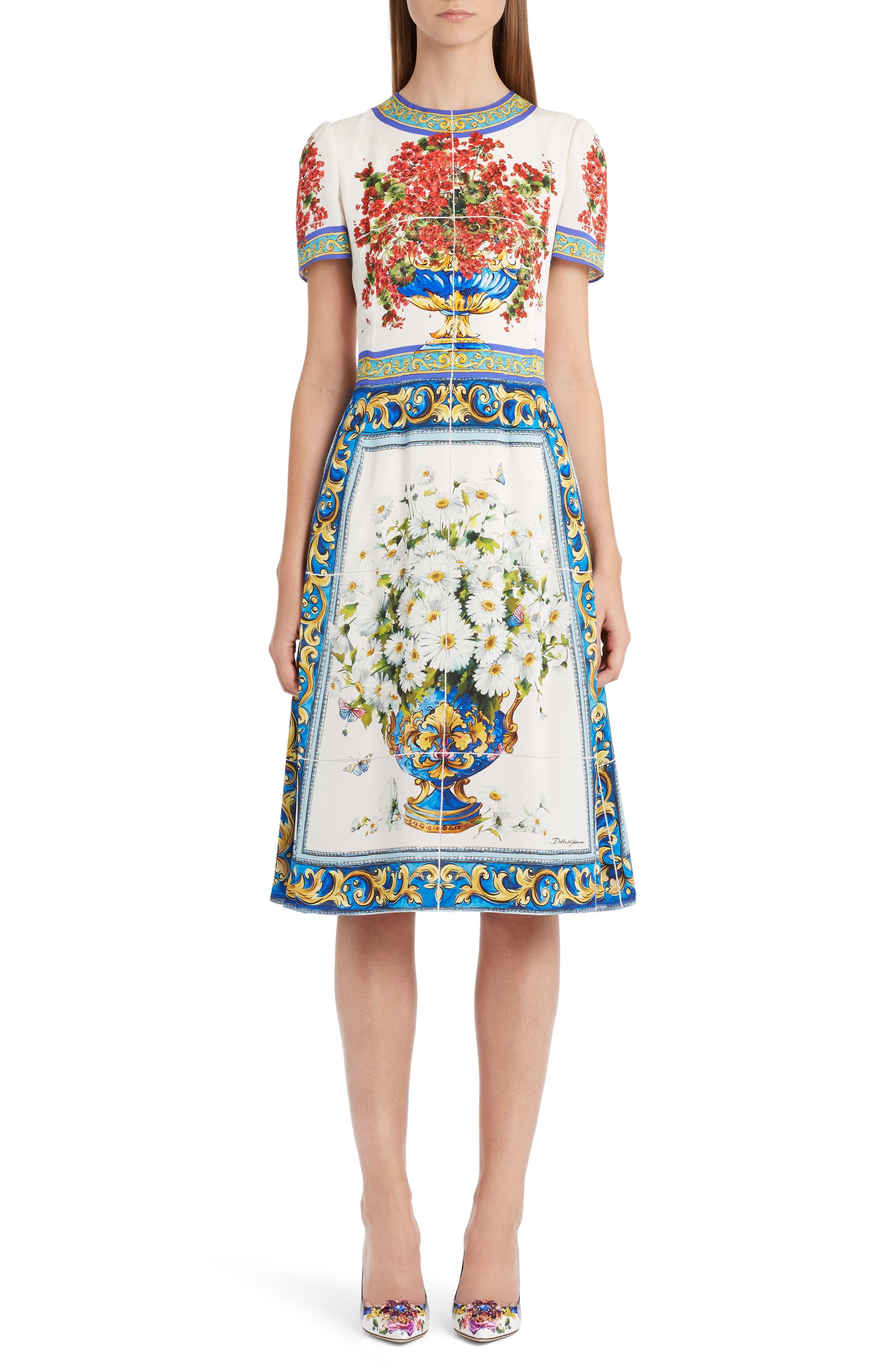 Alternate Image 1 Selected - Dolce&Gabbana Print Silk Fit & Flare Dress