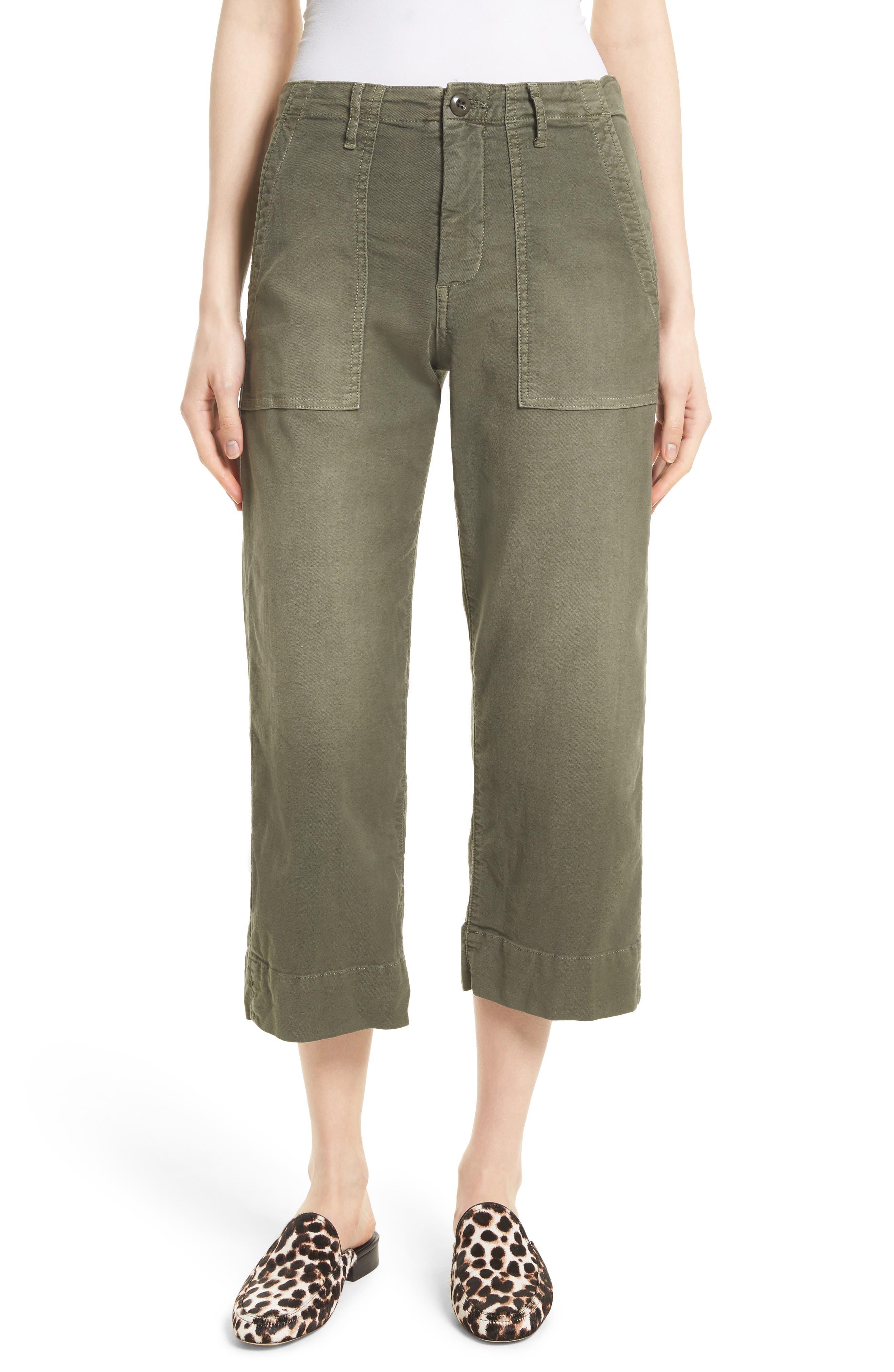 Crop Painter Pants,                         Main,                         color, Washed Deep Fatigue