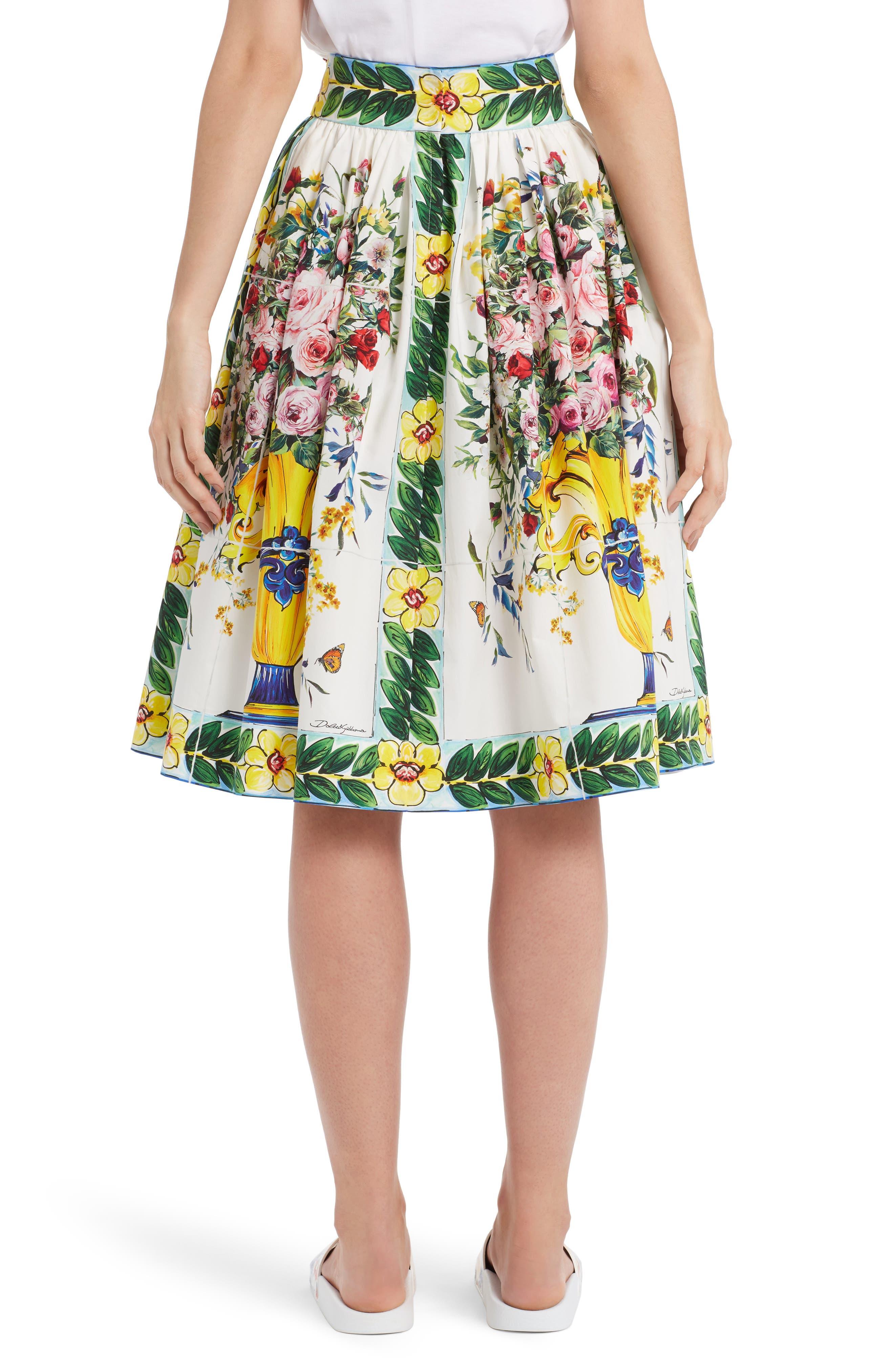 Pleated Cotton Poplin Skirt,                             Alternate thumbnail 2, color,                             Maioliche Prnt