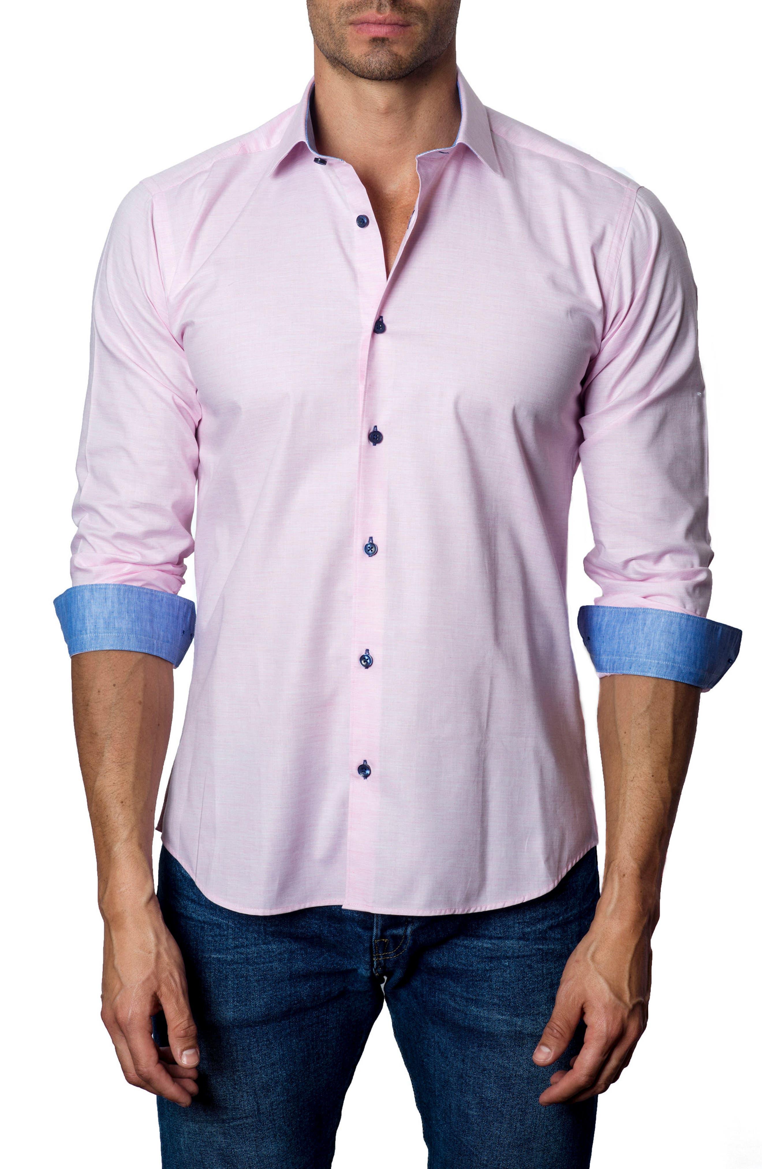 Trim Fit Sport Shirt,                         Main,                         color, Pink
