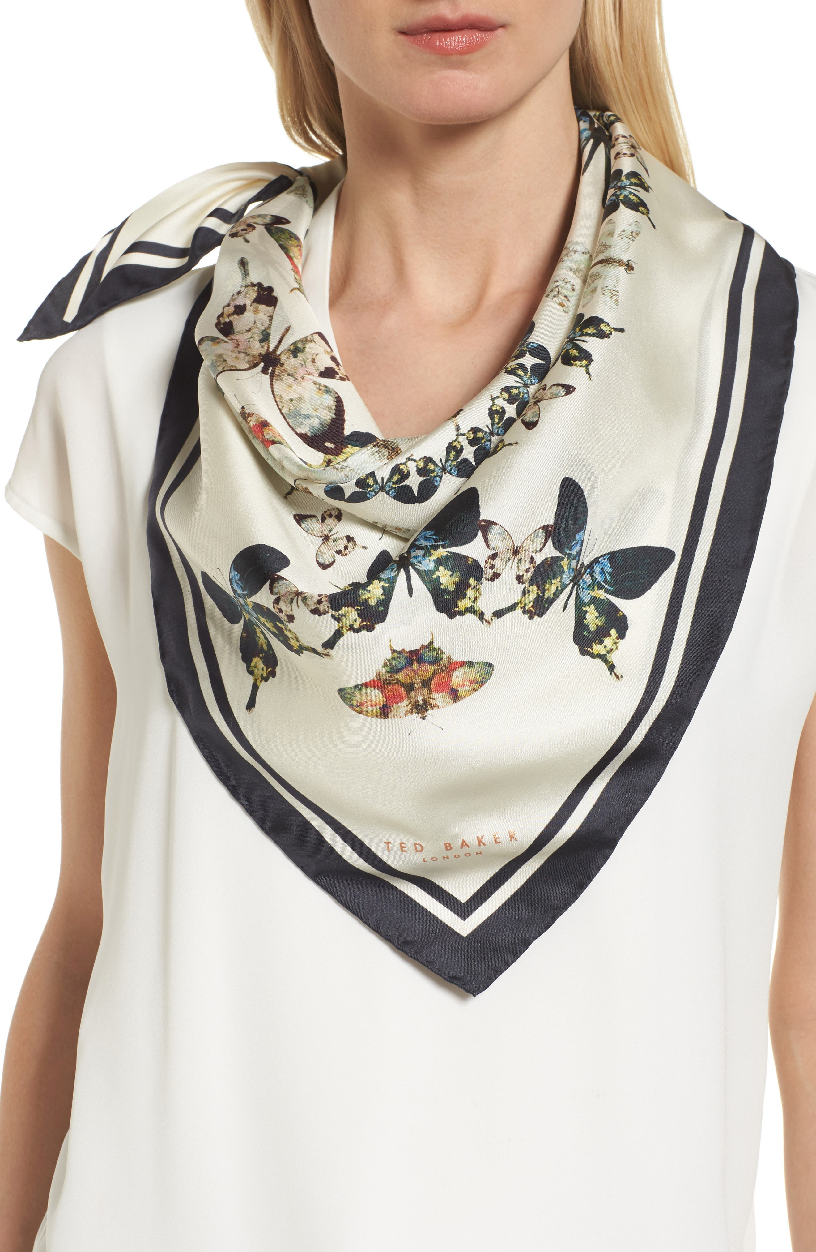 Main Image - Ted Baker London Butterfly Kaleidoscope Square Silk Scarf