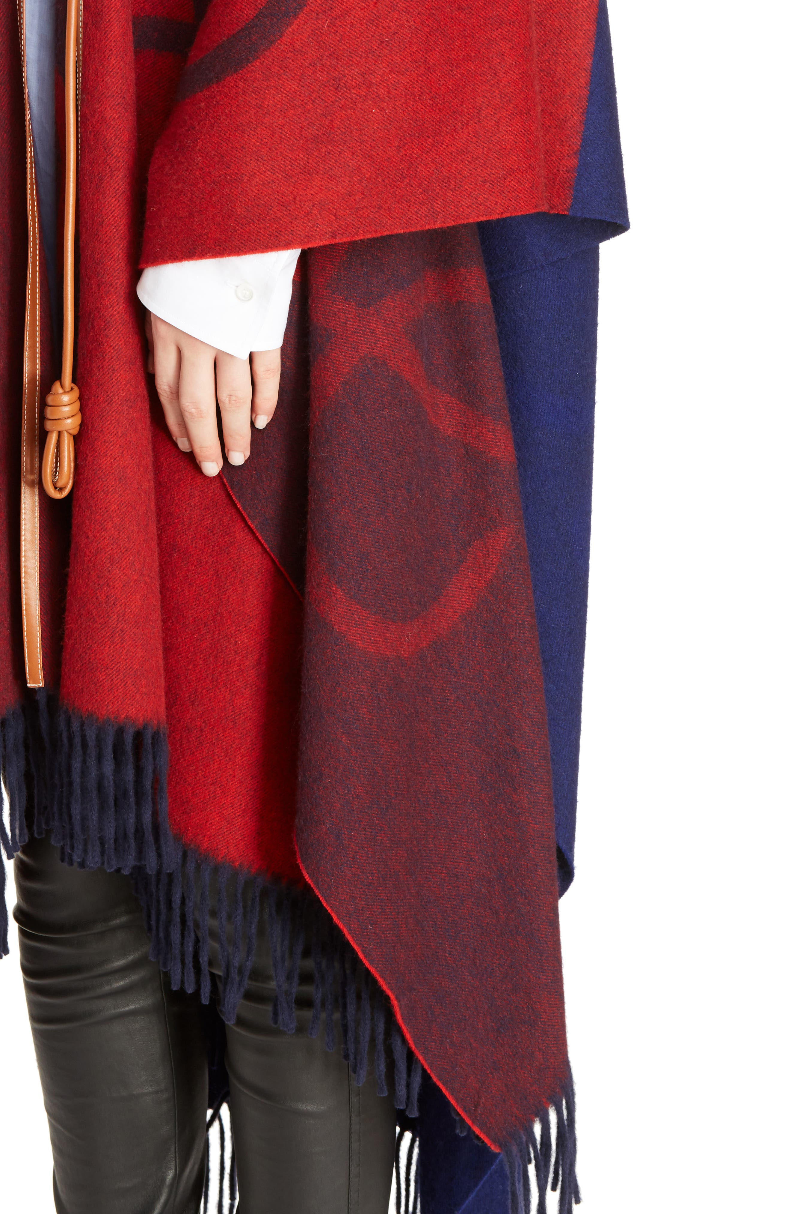 Logo Wool & Cashmere Blanket Cape,                             Alternate thumbnail 5, color,                             Red/ Navy