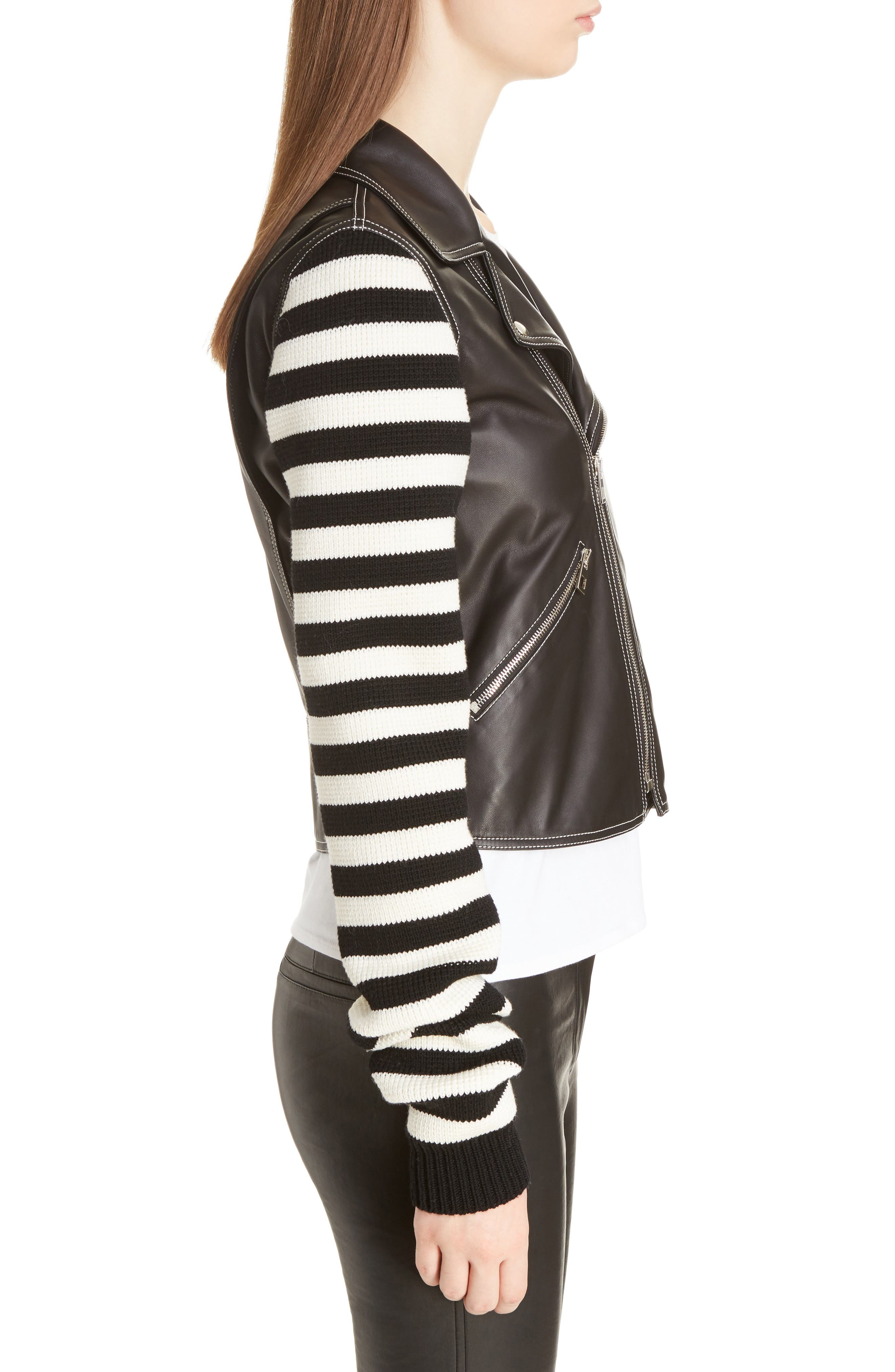 Alternate Image 4  - Loewe Stripe Knit & Leather Biker Jacket