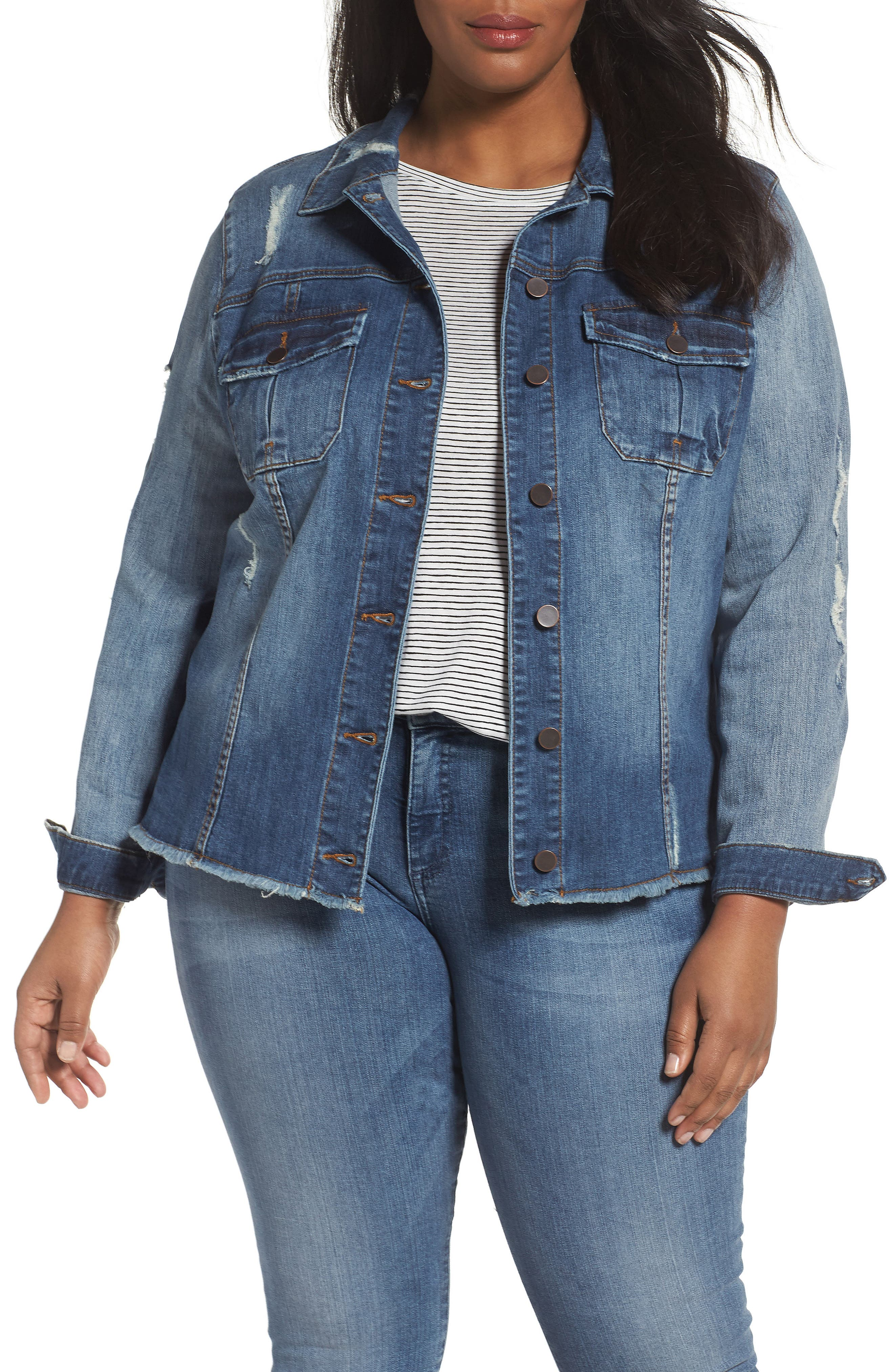 Main Image - KUT from the Kloth Distressed Denim Jacket (Plus Size)