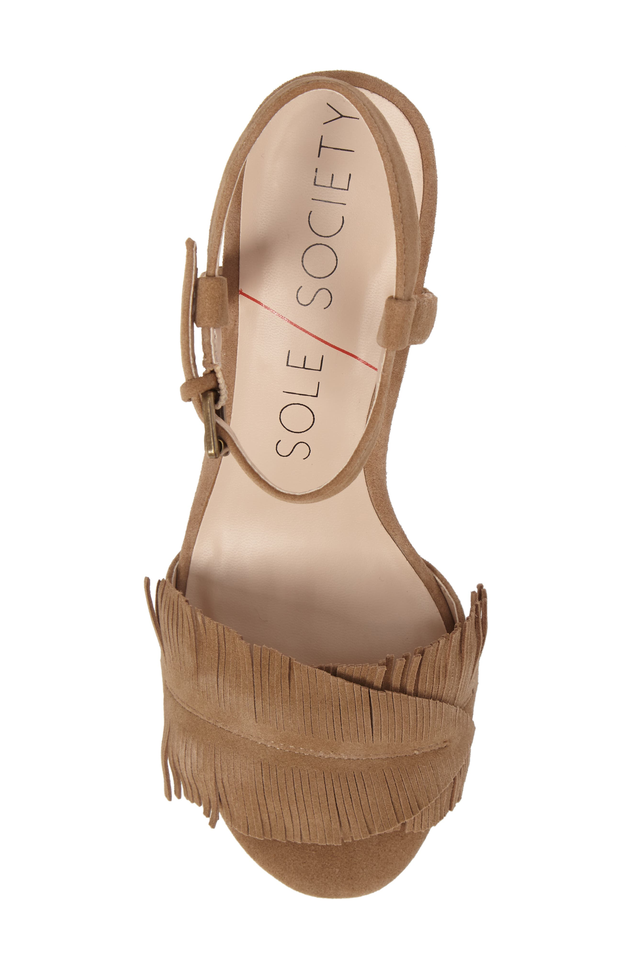 Sepia Fringe Sandal,                             Alternate thumbnail 5, color,                             Coffee Suede