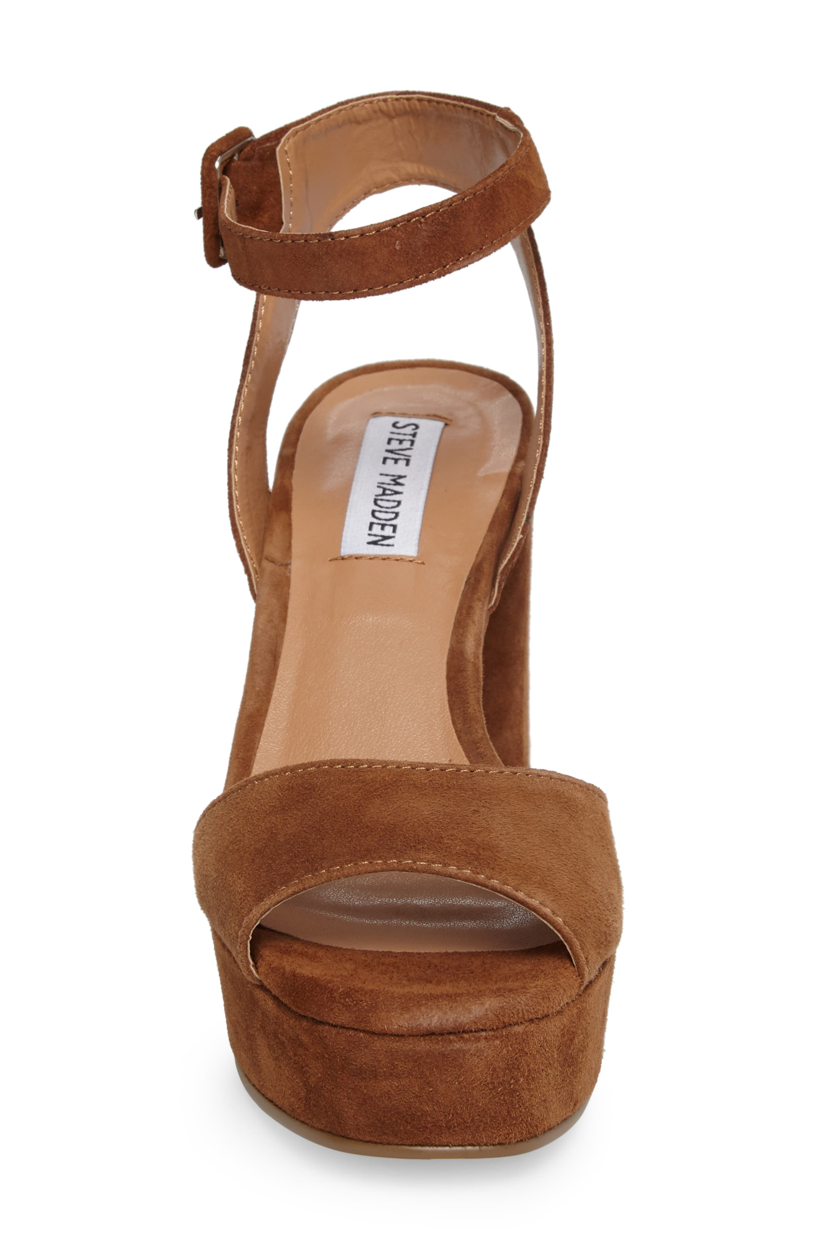 Verdict Platform Sandal,                             Alternate thumbnail 4, color,                             Cognac Suede