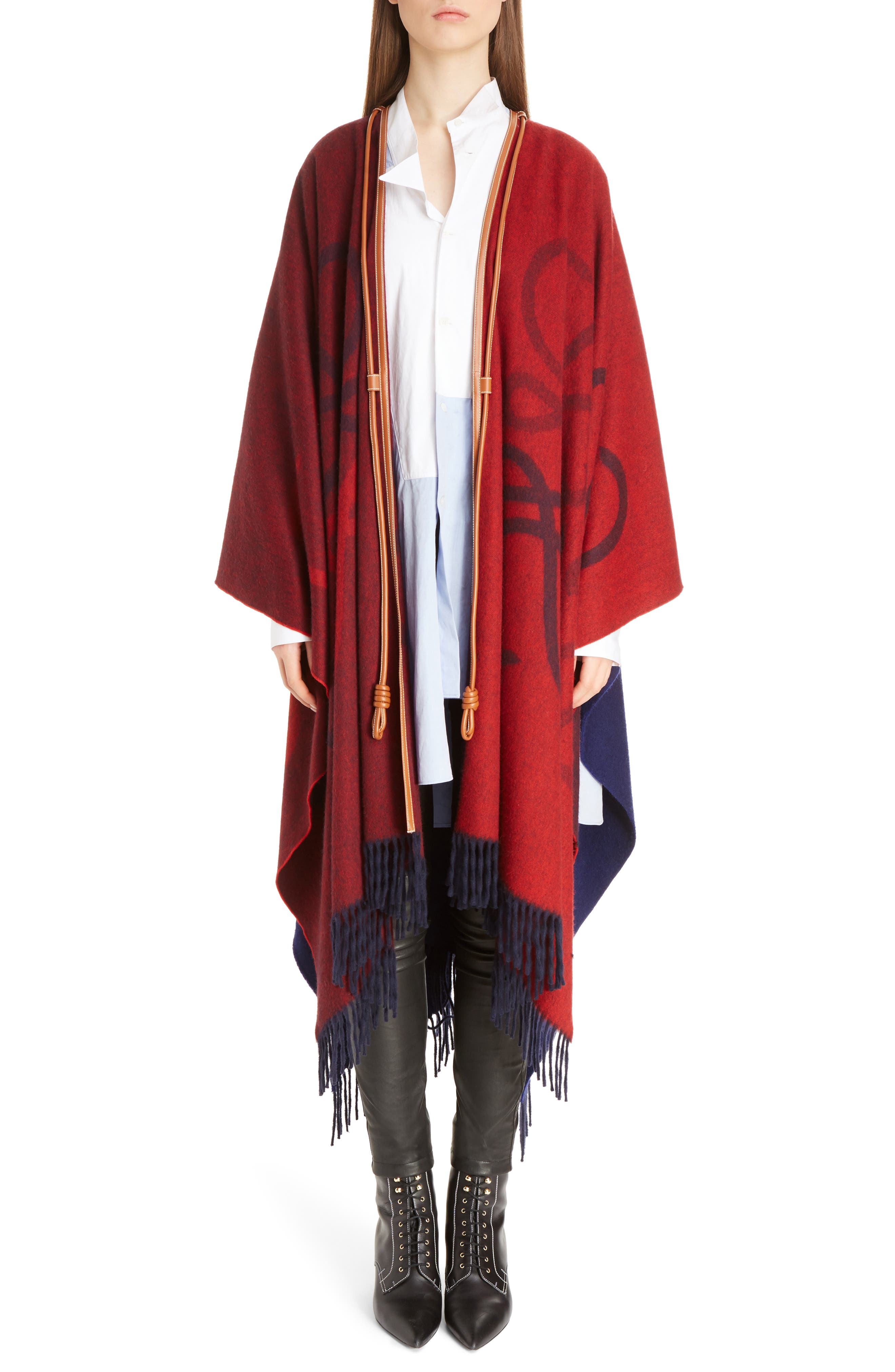 Logo Wool & Cashmere Blanket Cape,                             Main thumbnail 1, color,                             Red/ Navy