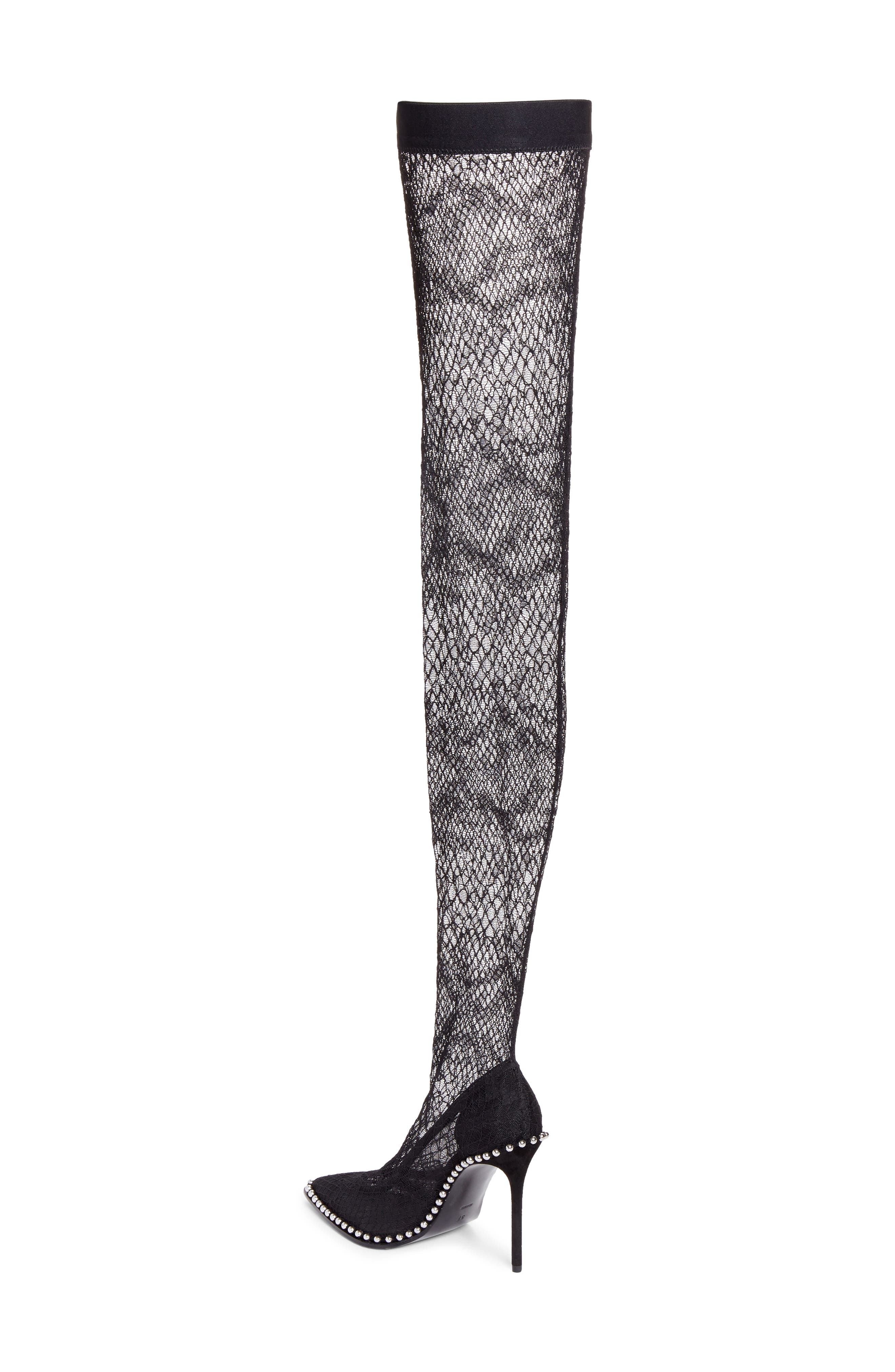 Lyra Thigh-High Fishnet Stocking Pump,                             Alternate thumbnail 2, color,                             Black
