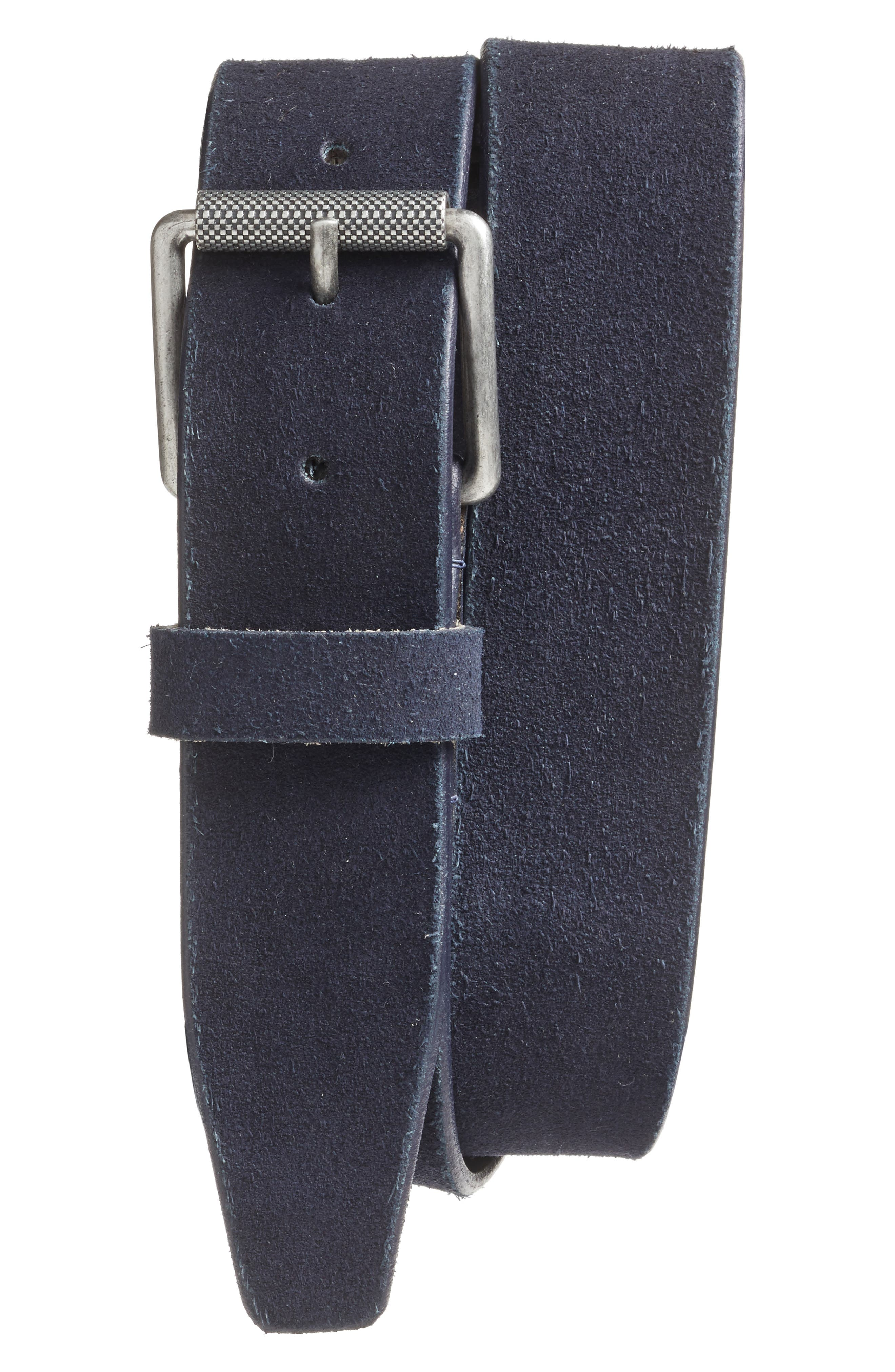Adrian Roller Buckle Suede Belt,                             Main thumbnail 1, color,                             Navy Midnight