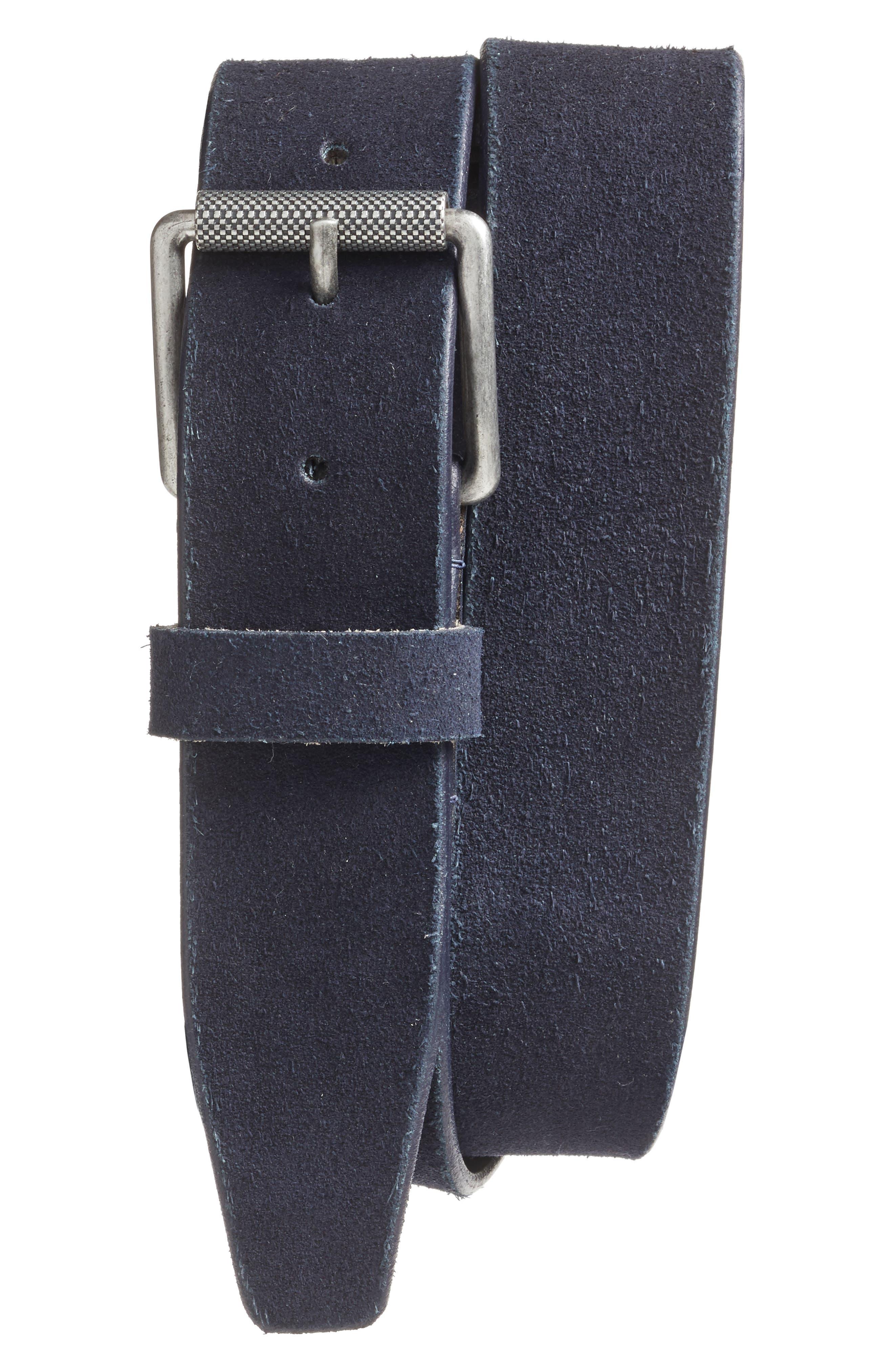 Main Image - 1901 Adrian Roller Buckle Suede Belt